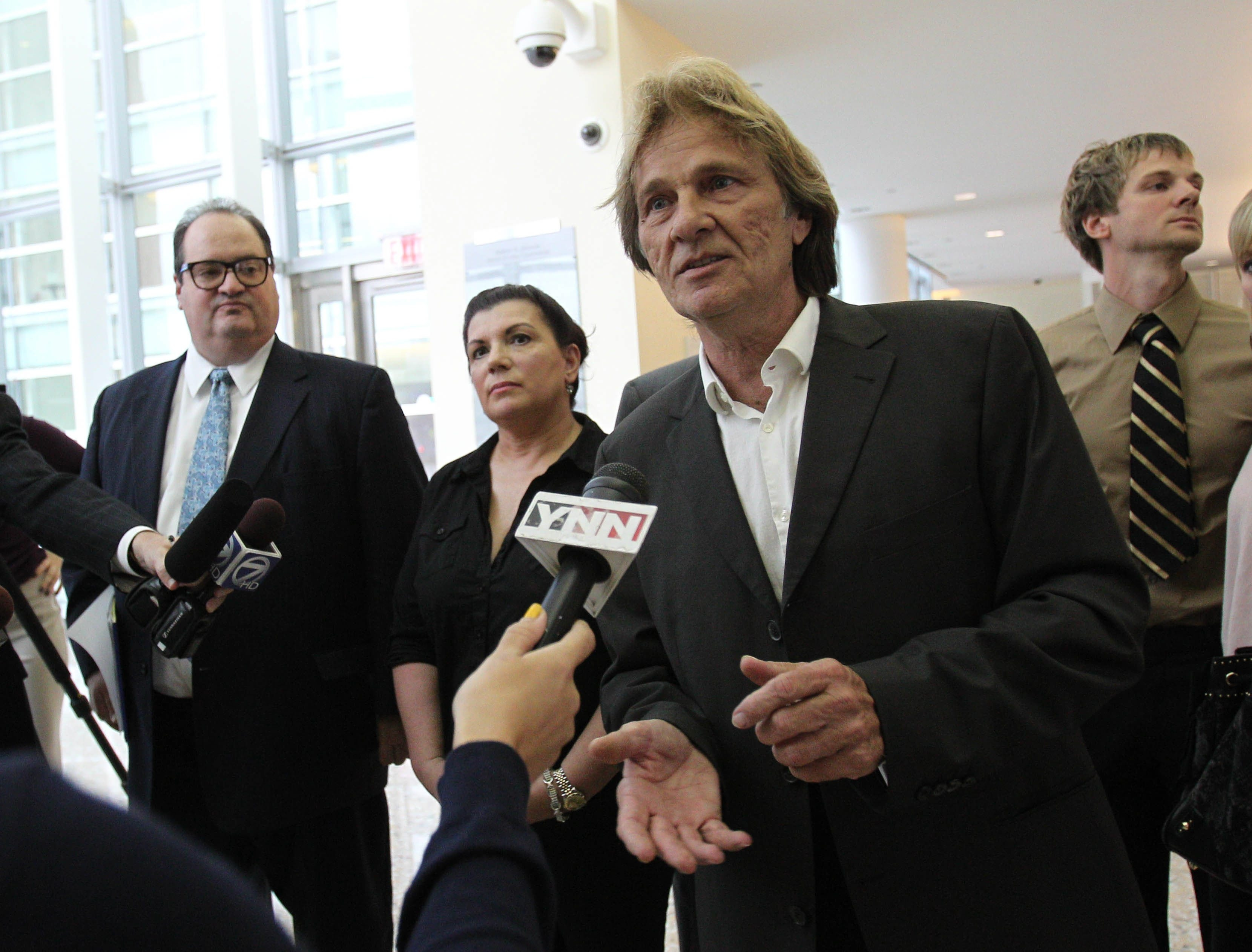 Jim Mazzariello speaks to the media after being indicted in federal court Thursday on charges of bribery and filing false tax returns.