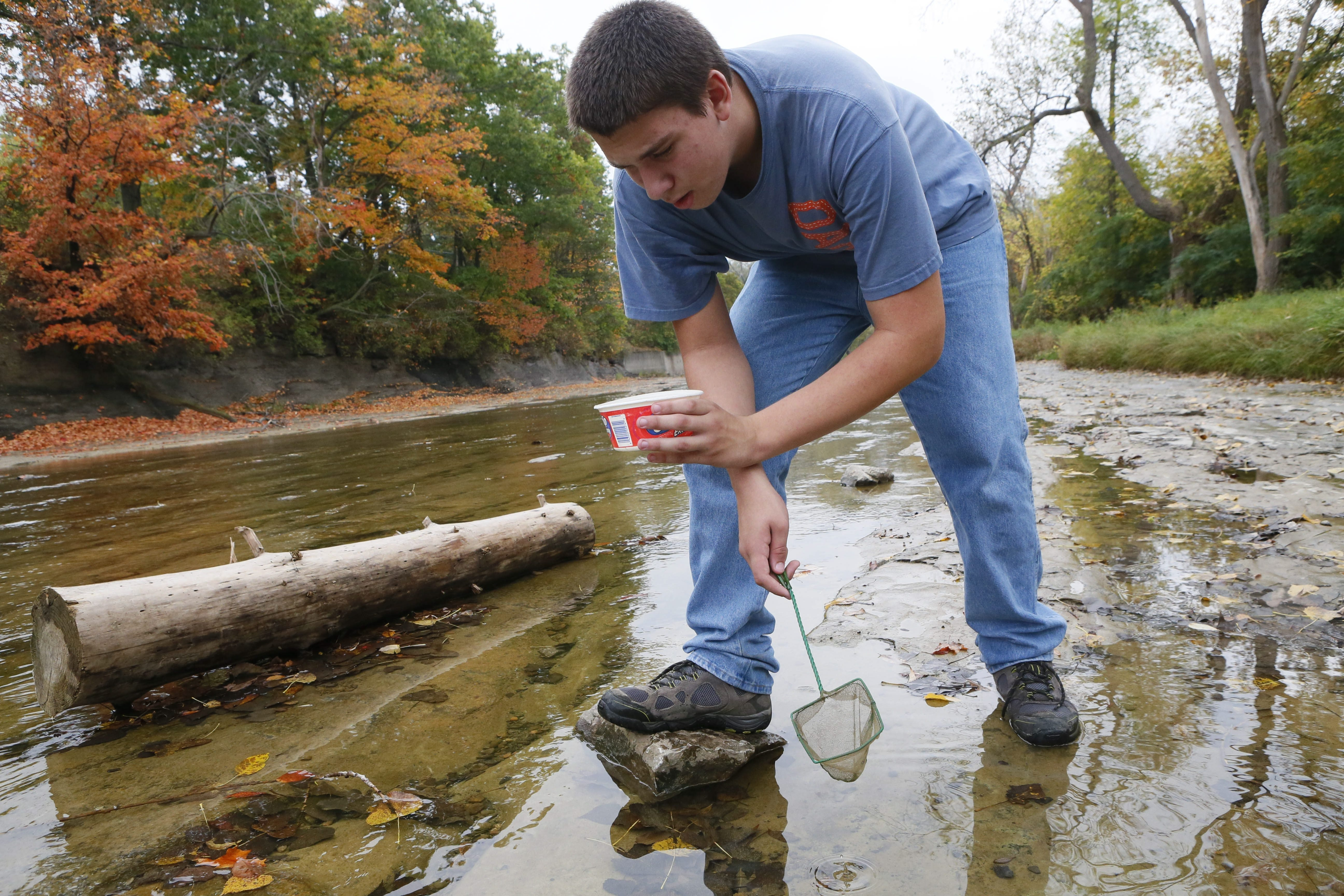 Jacob Kappen analyzes water from Buffalo Creek for specimens Friday. Kappen was one of 33 eighth-graders from Maryvale Middle School participating in the research program.