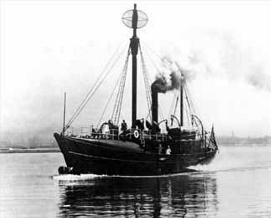 @Cutline LV-82 is shown plowing through Lake Erie about a century ago. The 100-foot-long lighthouse vessel sank in a storm in 1913, and all six crew, including Capt. Hugh M. William were lost.