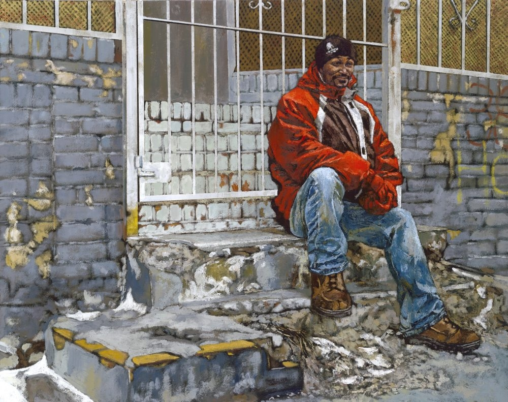 """""""Ty,"""" a painting by Gary Wolfe, is part of """"Out of Darkness: Putting a Face on Homelessness"""" in ArtSpace Buffalo Gallery."""