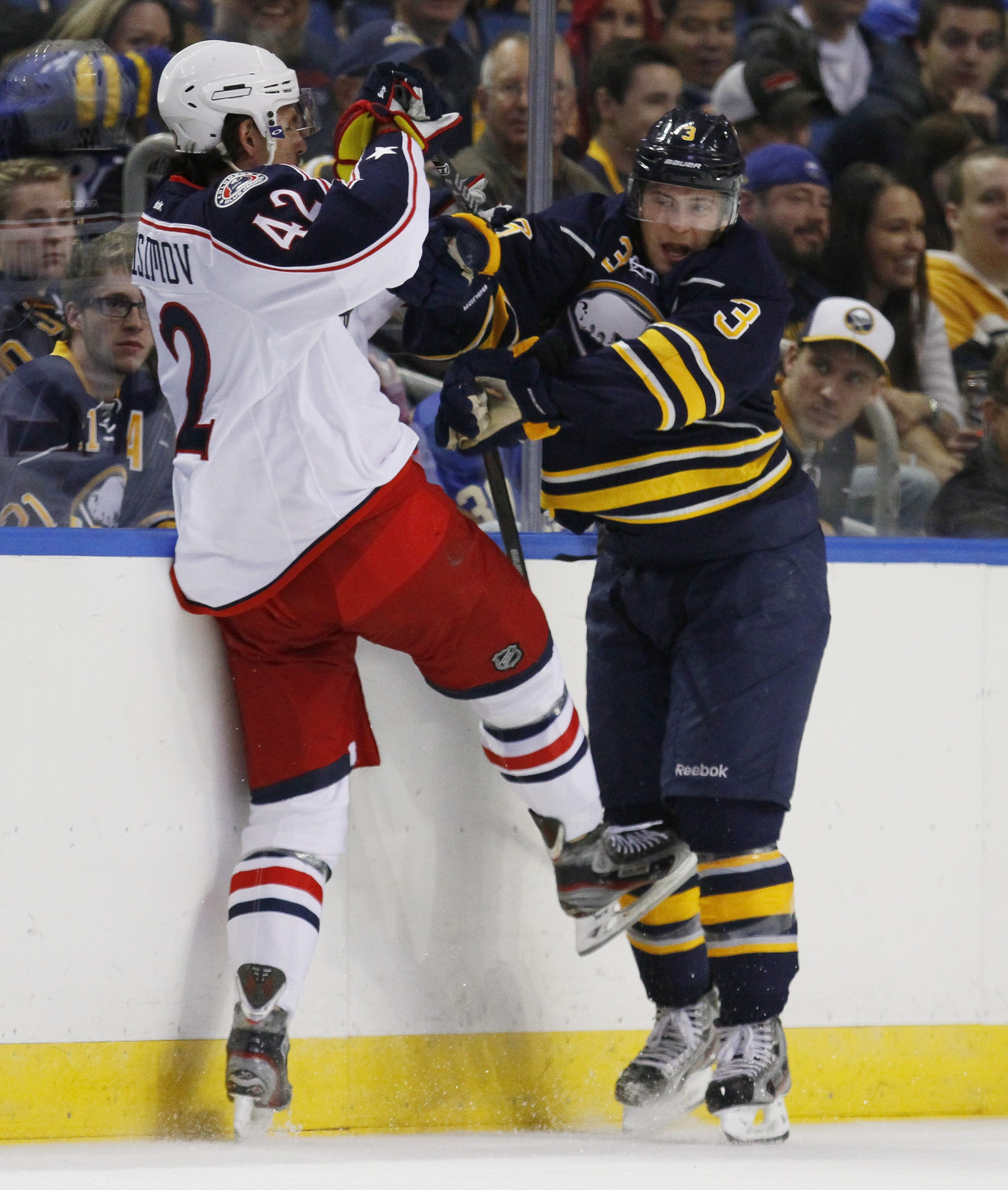 The Sabres' Mark Pysyk, checking the Blue Jackets' Artem Anisimov in the preseason, is the furthest along of the team's young defensemen.