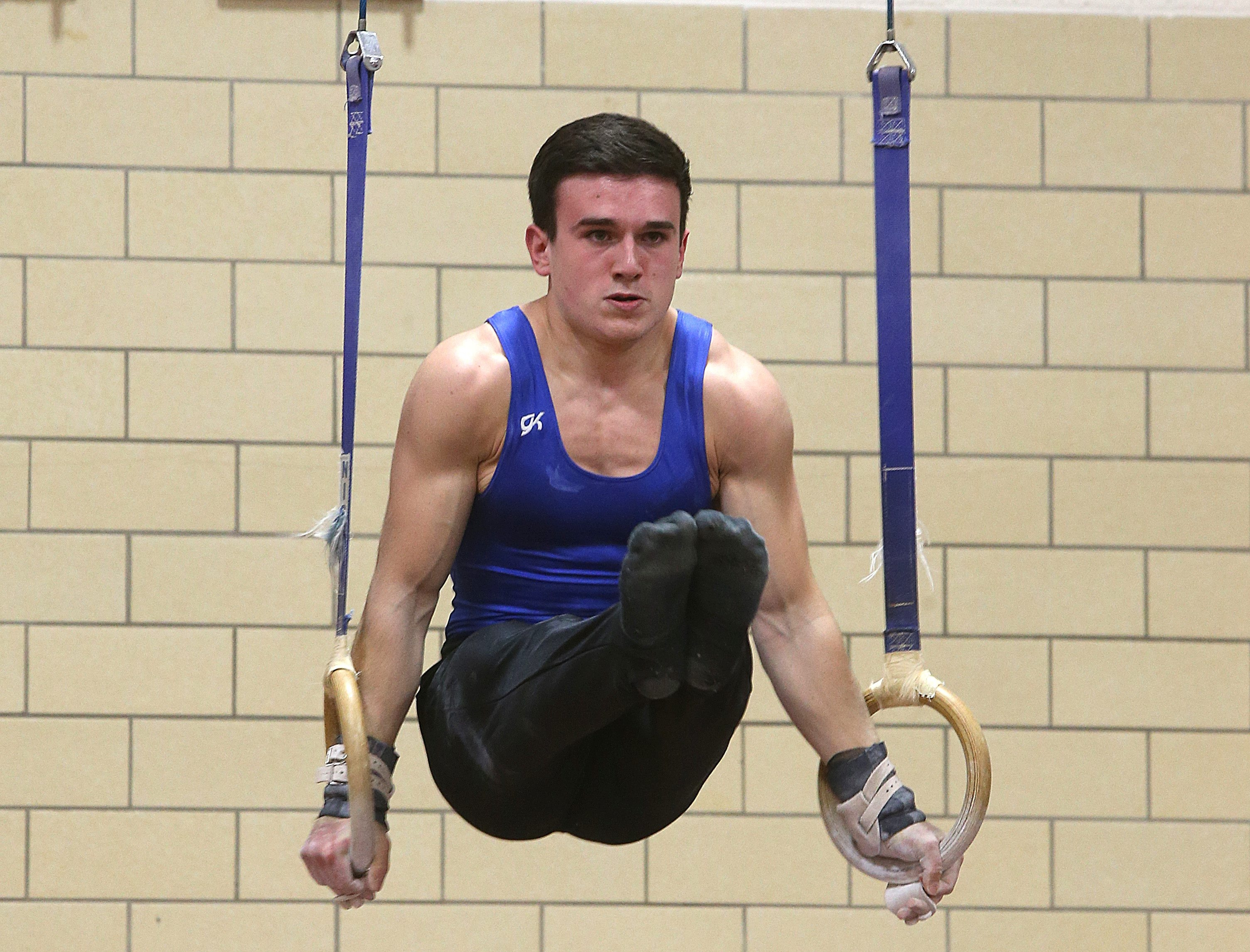 Williamsville South gymnast Noah Roberson tied a Section VI record with a 9.7 on the rings.