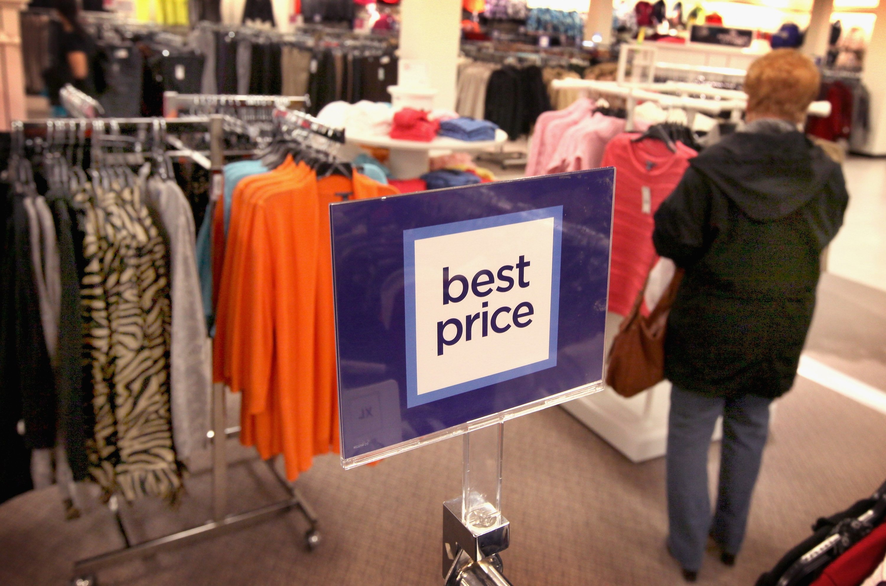 A sign displays a new pricing stategy at a JCPenney store in the North Riverside Park Mall on Feb. 1, 2012, in North Riverside, Illinois.