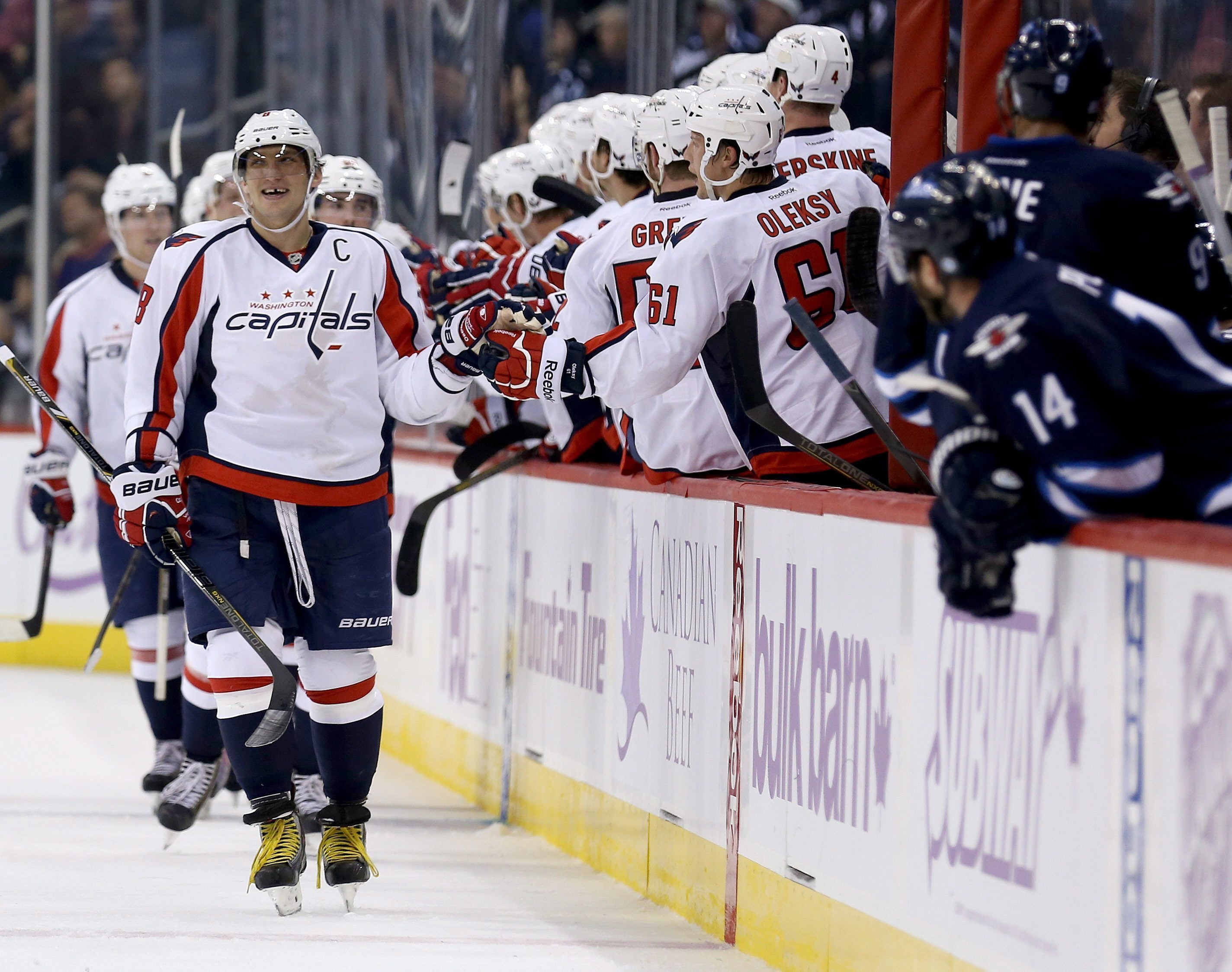 Alex Ovechkin has scored 10 goals in the opening 10 games for the Washington Capitals. (AP Photo/The Canadian Press, Trevor Hagan)