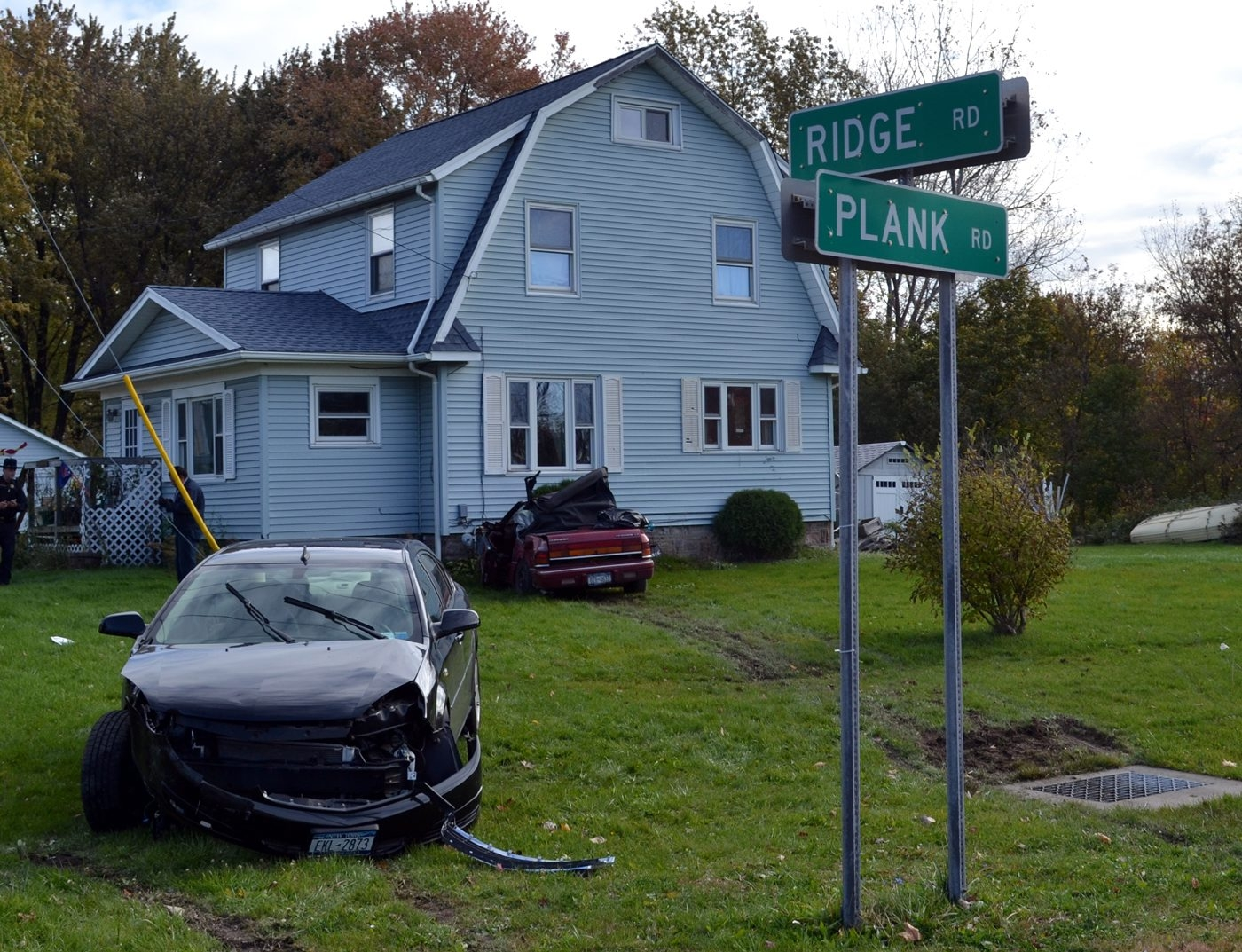 These two cars collided at Plank and Ridge roads in Cambria, causing one of the vehicles to sideswipe bushes and a gas meter at this home. Both drivers and a passenger were taken to hospitals, but the injuries were not believed to be serious.