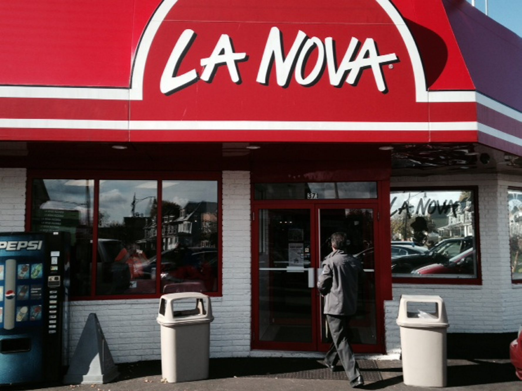 La Nova on West Ferry where a gunman held up two employees leaving the restaurant with a bank deposit bag.