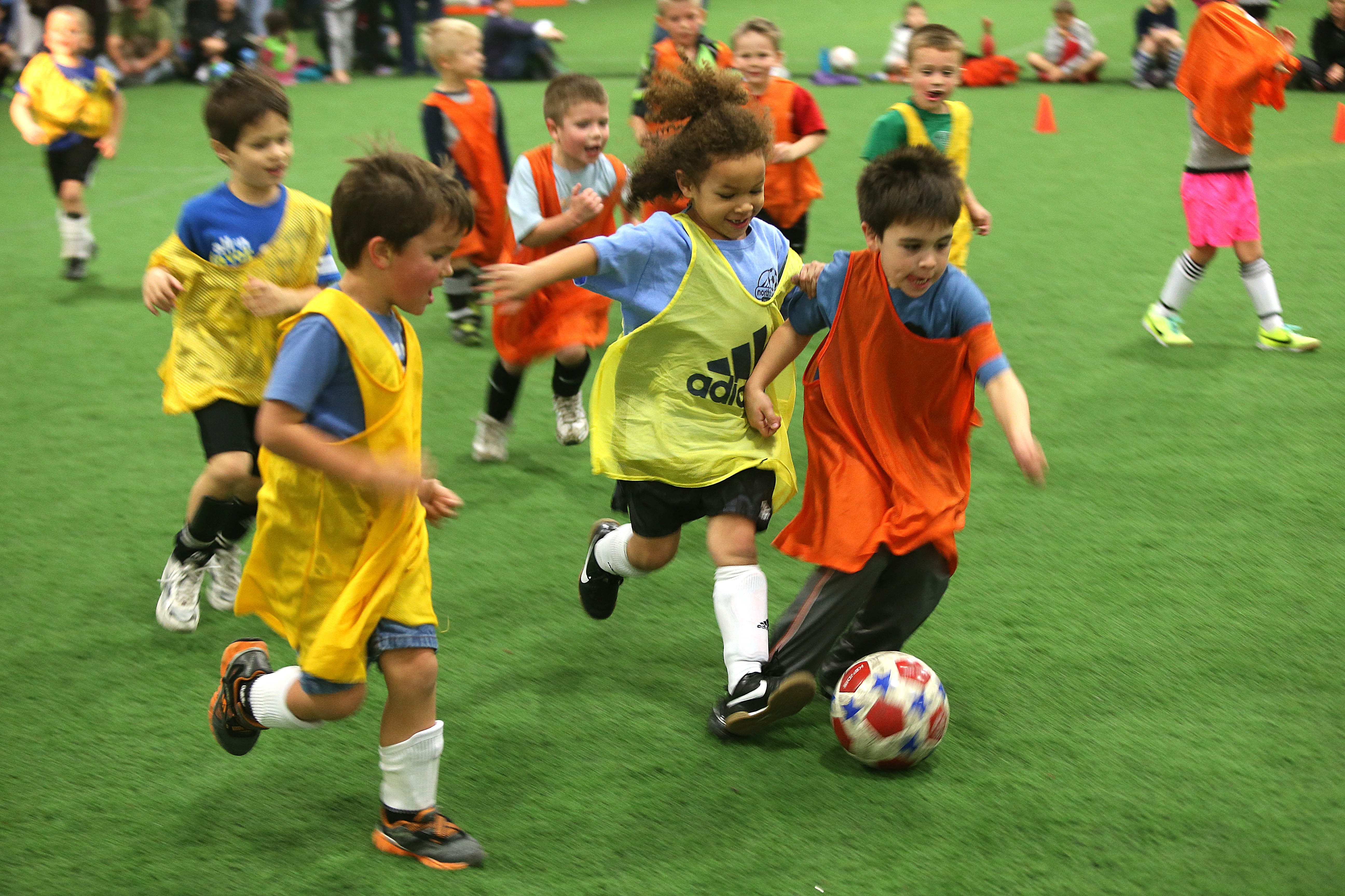 Above, U9 soccer kids practice in North Tonawanda's Sportsplex. Locker rooms have been renovated, parking lot repaved, tennis courts refurbished, the soccer field fixed and a snack bar reopened.