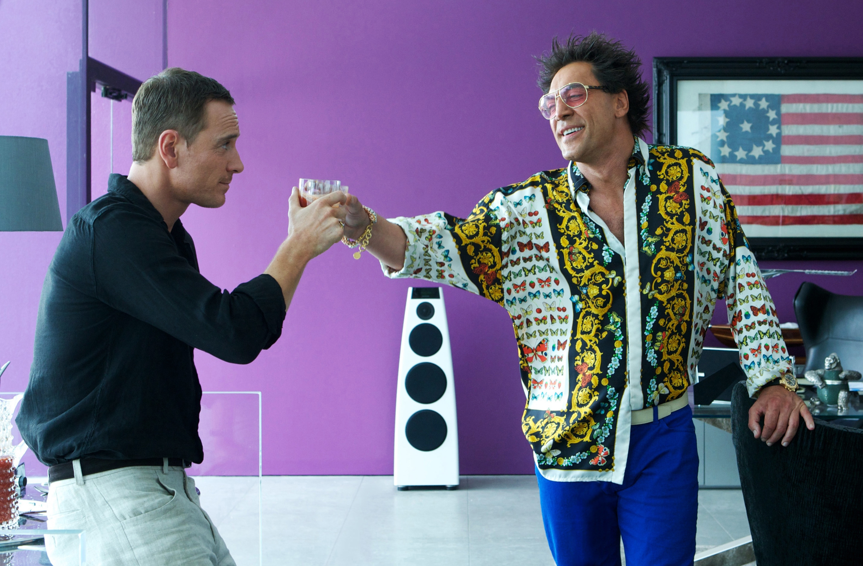 """Michael Fassbender, left, as The Counselor, and Javier Bardem, as Reiner, in the film, """"The Counselor."""""""