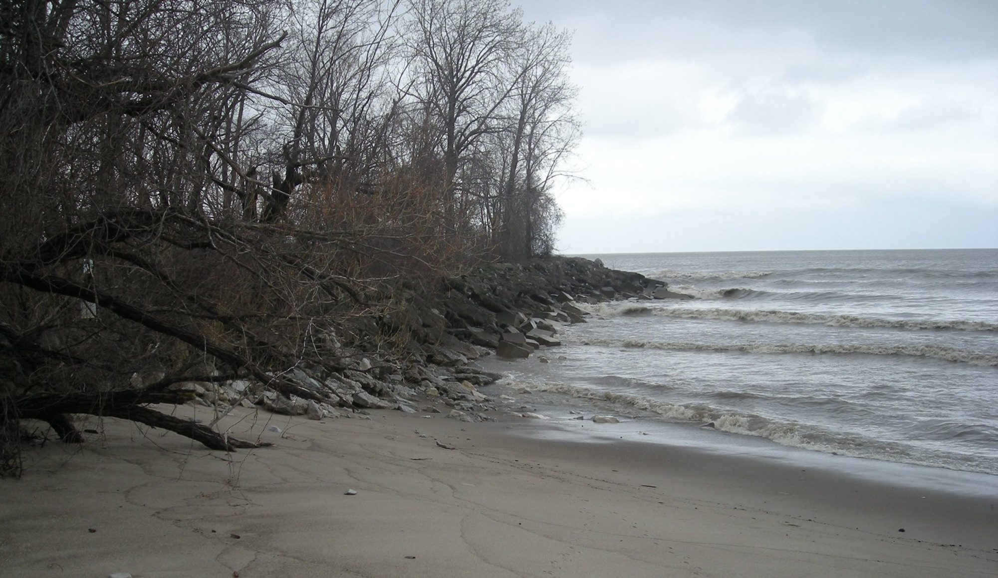 Visitors can find a wild, retreating Lake Erie barrier beach, top, at Sheldon Marsh State Nature Preserve near Huron, Ohio. It stretches 1.13 miles and protects the wetlands, above, from waves. The 463-acre nature preserve is popular with birders.
