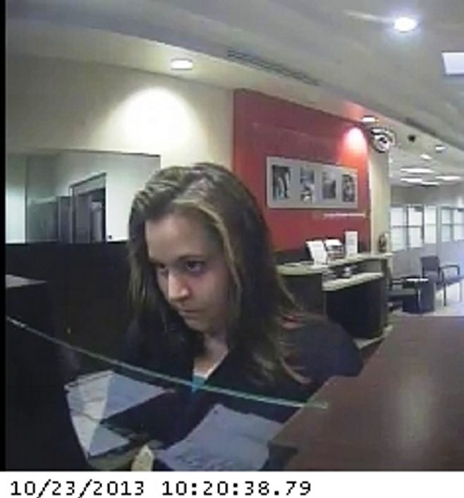 A security camera captured this image of the woman who held up at a Key Bank in North Buffalo this morning.