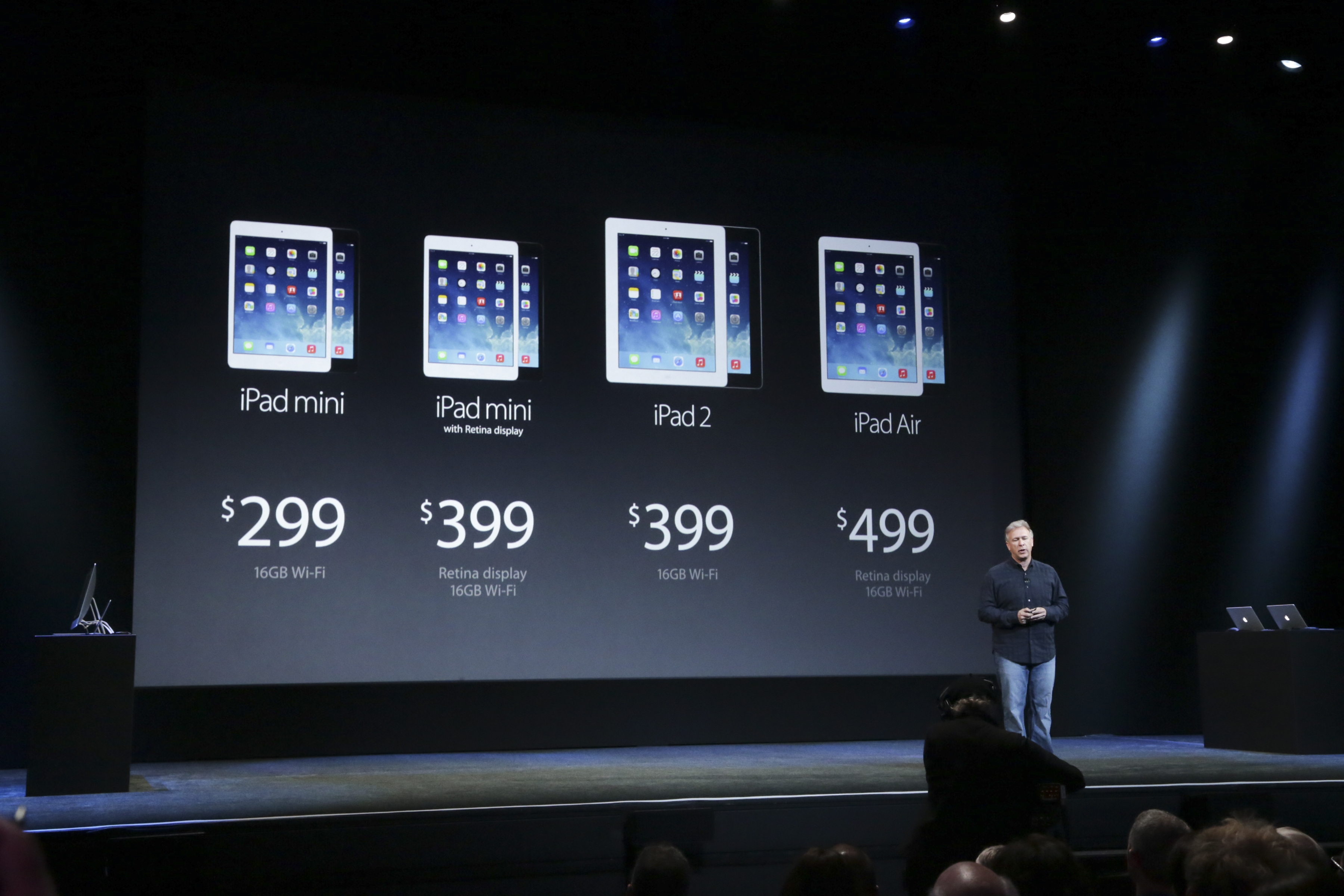 Philip Schiller, AppleþÄôs head of marketing, talks about the price of the new iPads at an Apple product announcement at the Yerba Buena Center for the Arts Theater in San Francisco, Oct. 22, 2013. Apple announced significantly upgraded versions of its tablets at the event on Tuesday, with the iPad Mini having a higher-resolution display, while the new iPad Air, with a slimmer design, weighing about a pound. (Jim Wilson/The New York Times)