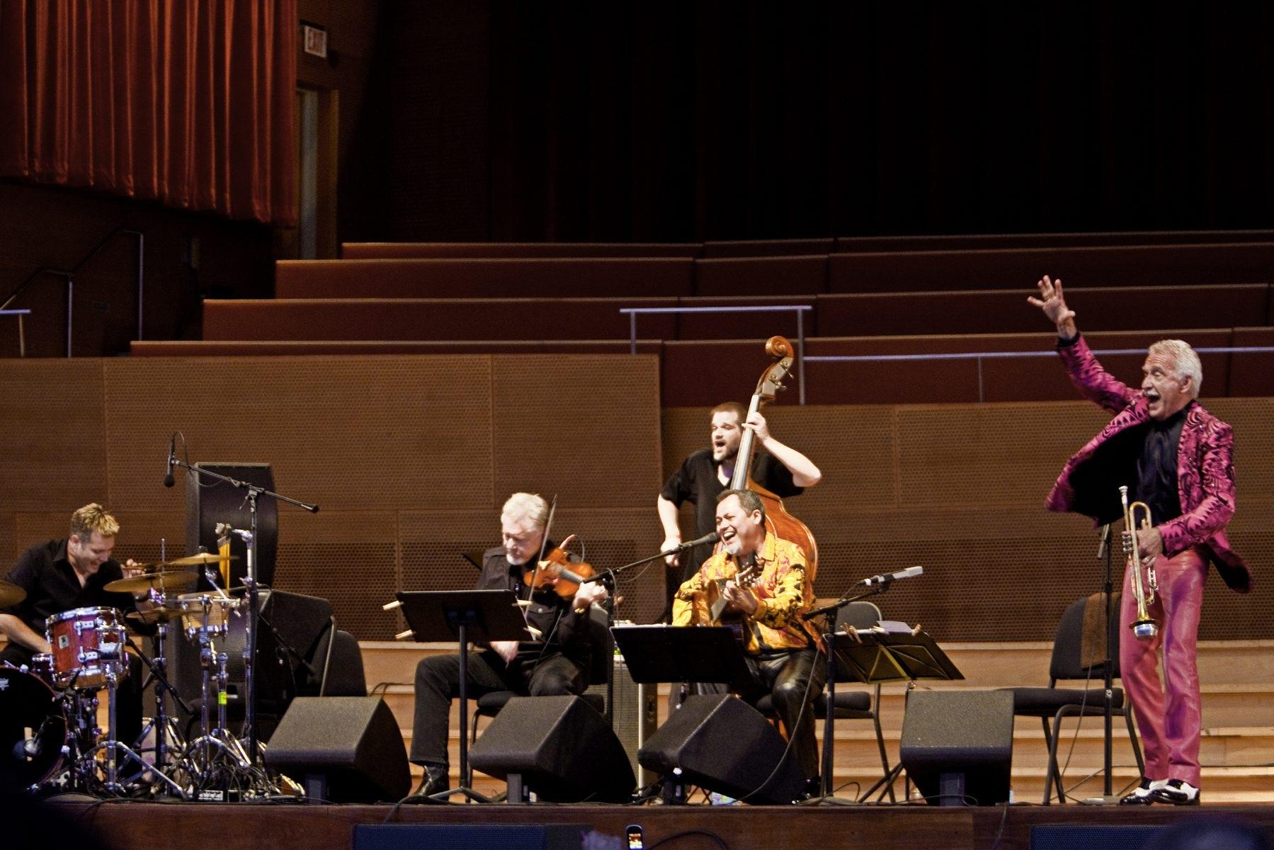 "EL RITMO DE LA VIDA  Doc Severinsen, trumpet, and Gil GutiÈrrez, guitar, brought their band, El Ritmo de la Vida, to the Pritzker Pavilion in Chicago's Millennium Park on Thursday, June 24, 2010, for the ""Noche en Mexico,"" part of the Music Without Borders series."