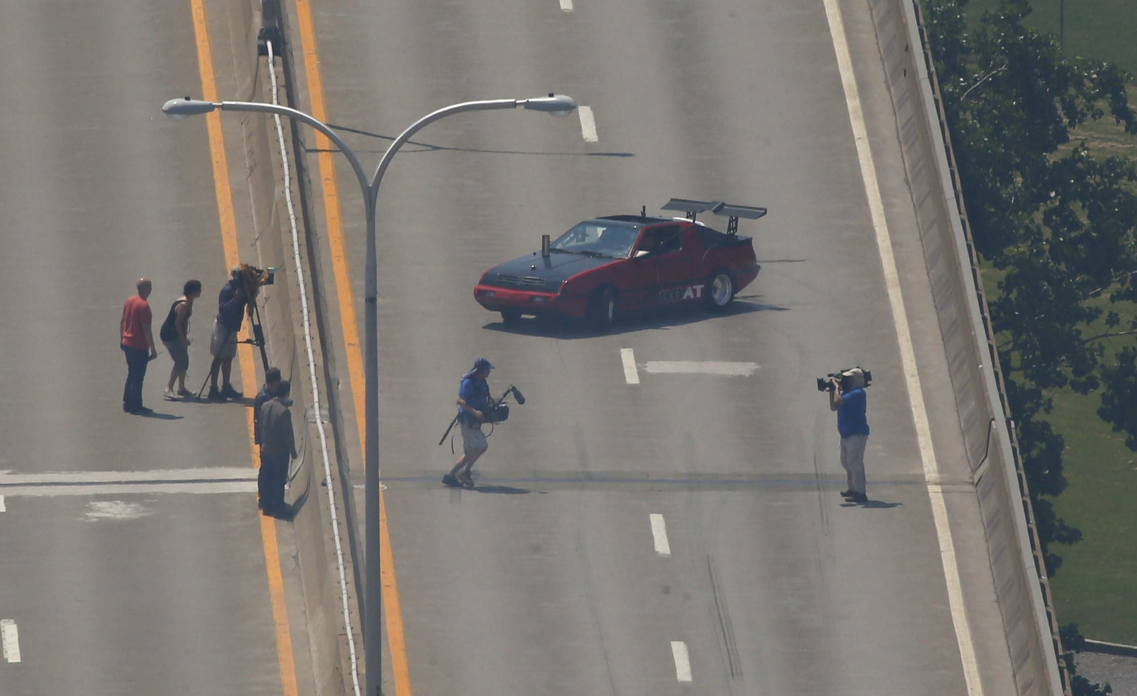 """Filming for the television show """"Top Gear"""" is shown on July 16 on the Skyway."""