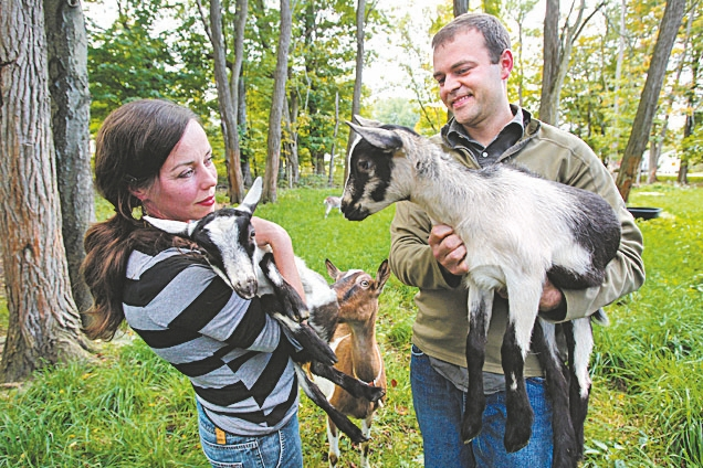 Eric and Kerry Beiter are shown with some of their alpine goats at their farm in Wales.
