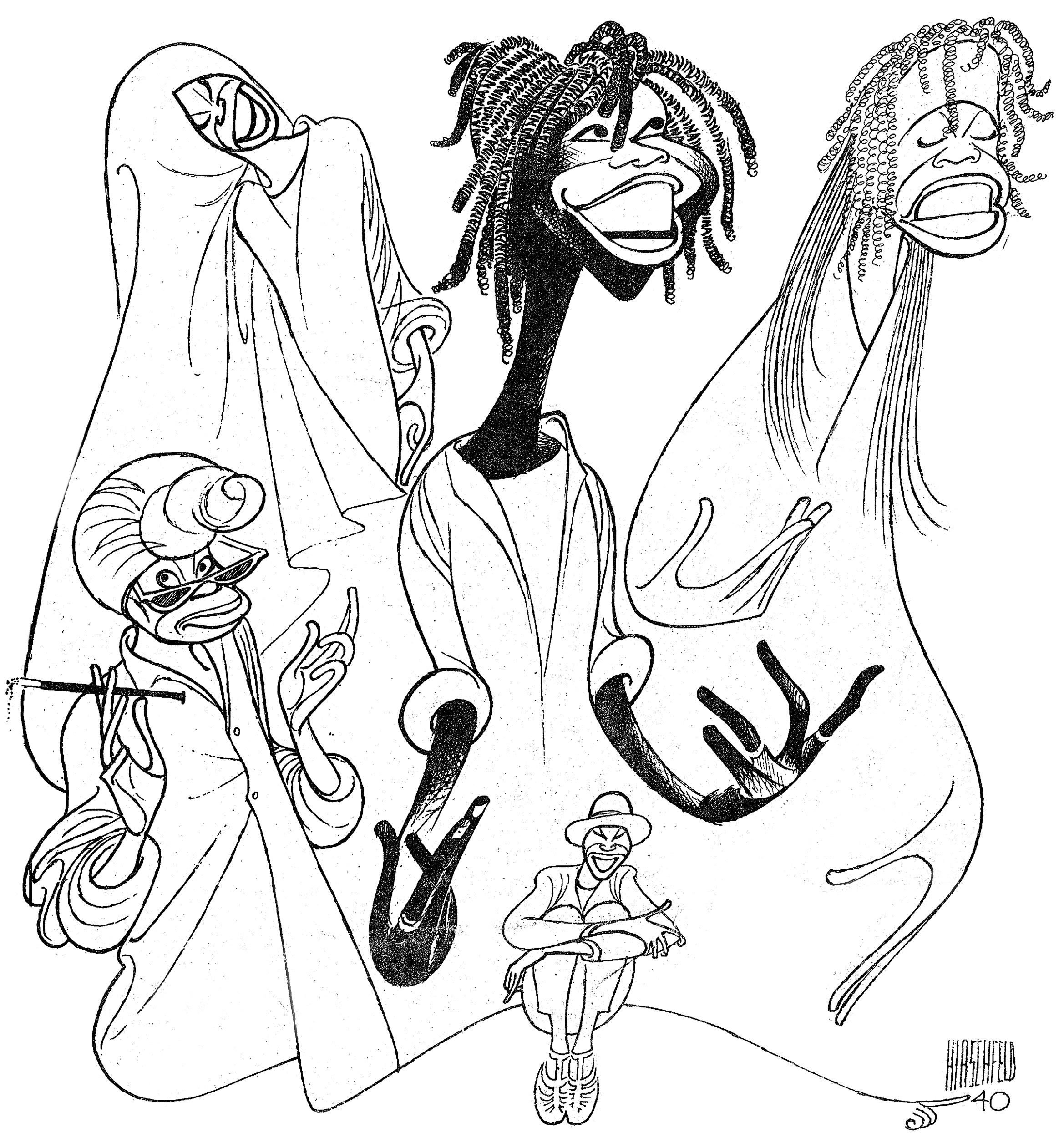 """This undated image provided by the New York Public Library shows a drawing of Whoopi Goldberg by caricaturist Al Hirschfeld, for a poster of her 1984 one-woman Broadway show. It is part of a new exhibition on Hirschfeld, """"The Line King's Library,"""" which opens at The New York Public Library for the Performing Arts at Lincoln Center on Thursday, Oct. 17, 2013. (AP Photo/New York Public Library, Al Hirschfeld)"""