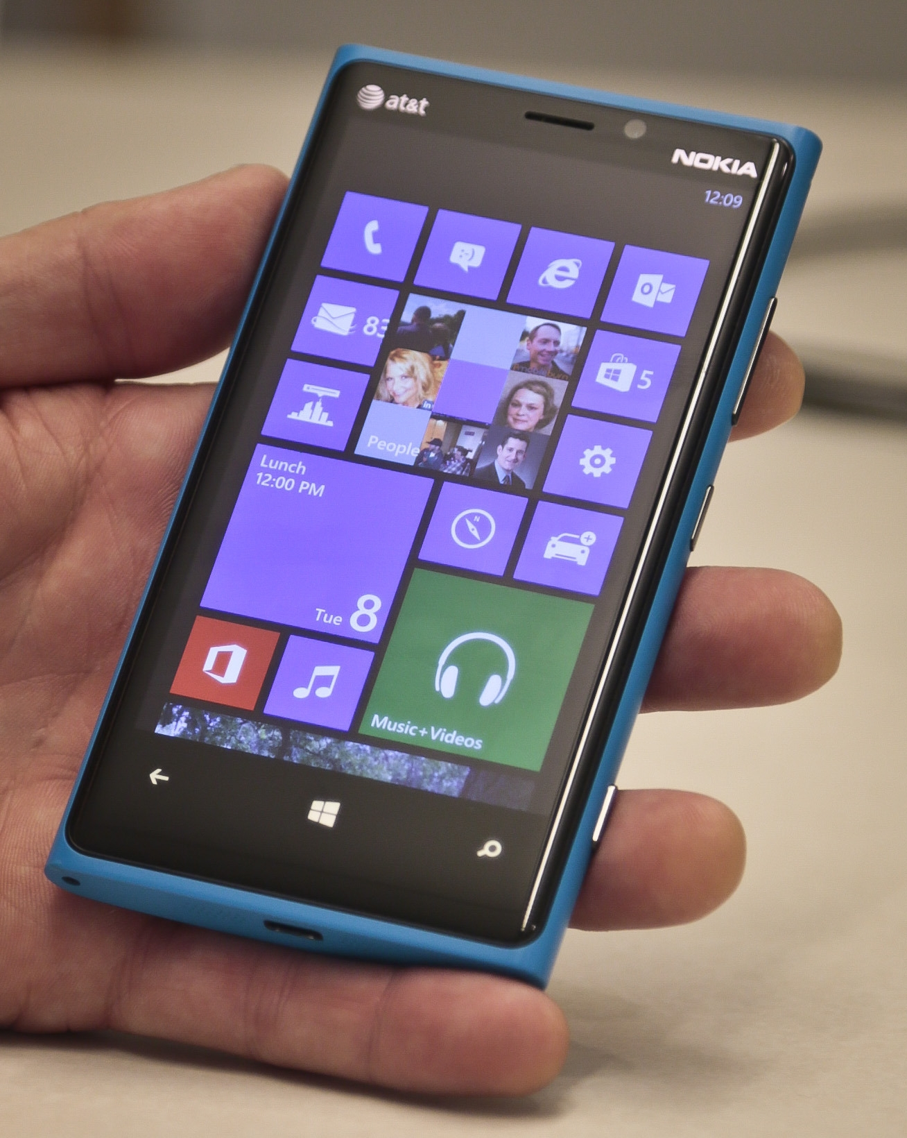 A Nokia cellphone, loaded with Microsoft Windows' new software, is shown.