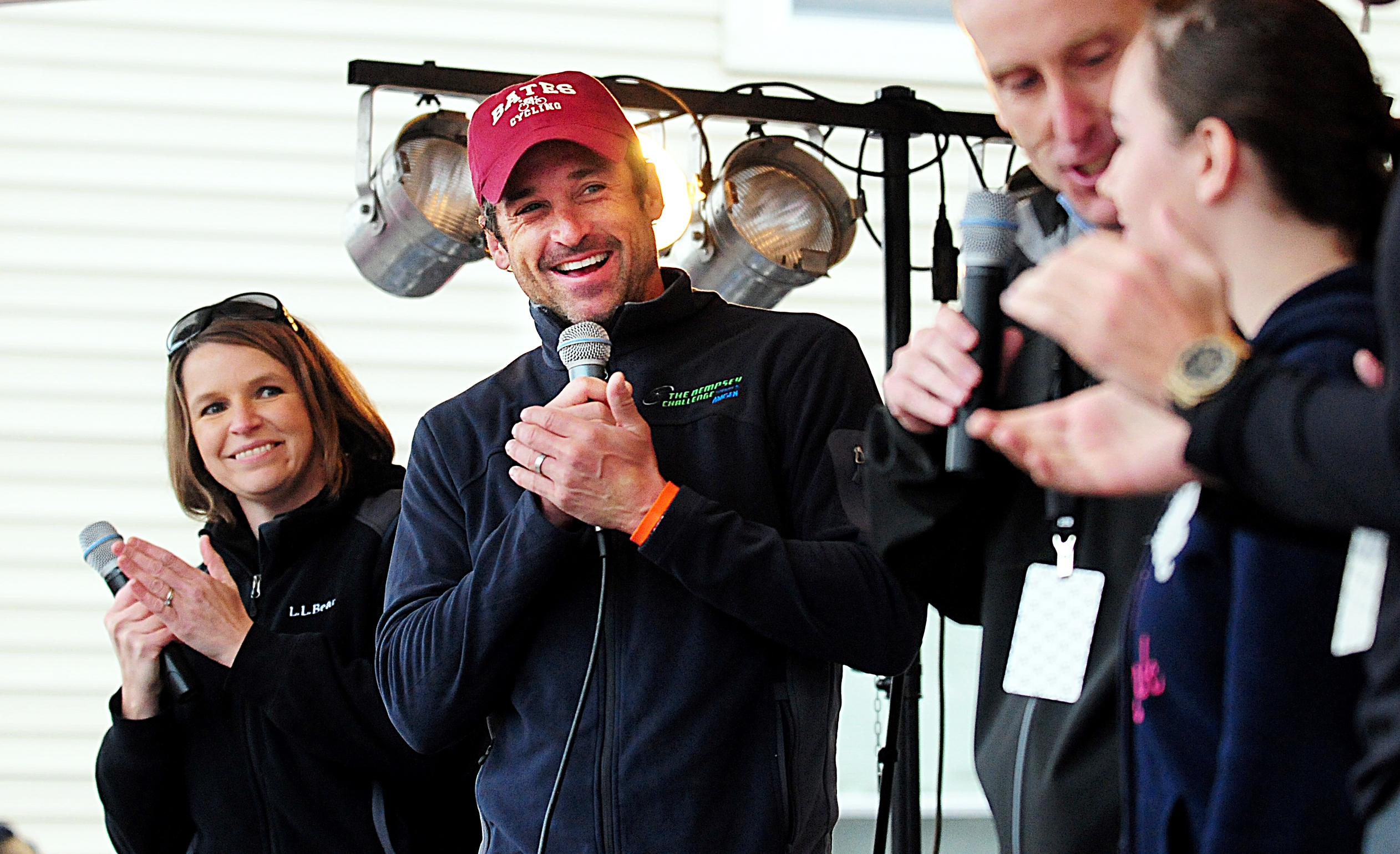 Patrick Dempsey addresses the crowd Saturday during the fifth annual Dempsey Challenge in Lewiston, Maine.  The event netted more than $1 million for a local cancer center.