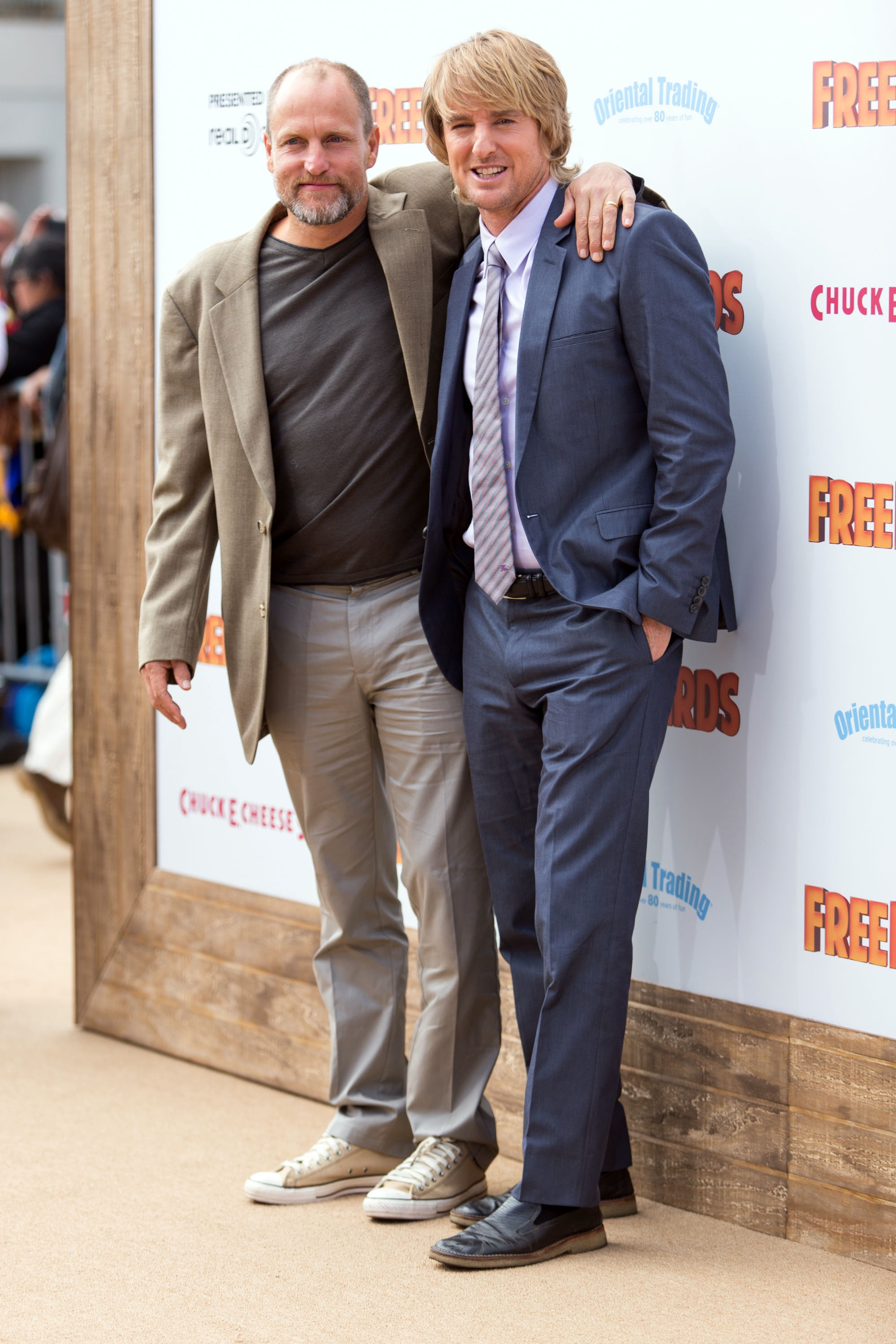 "For the 'Birds': Actors Woody Harrelson, left, and Owen Wilson hooked up in Los Angeles Sunday for the premiere of their film, ""Free Birds."""