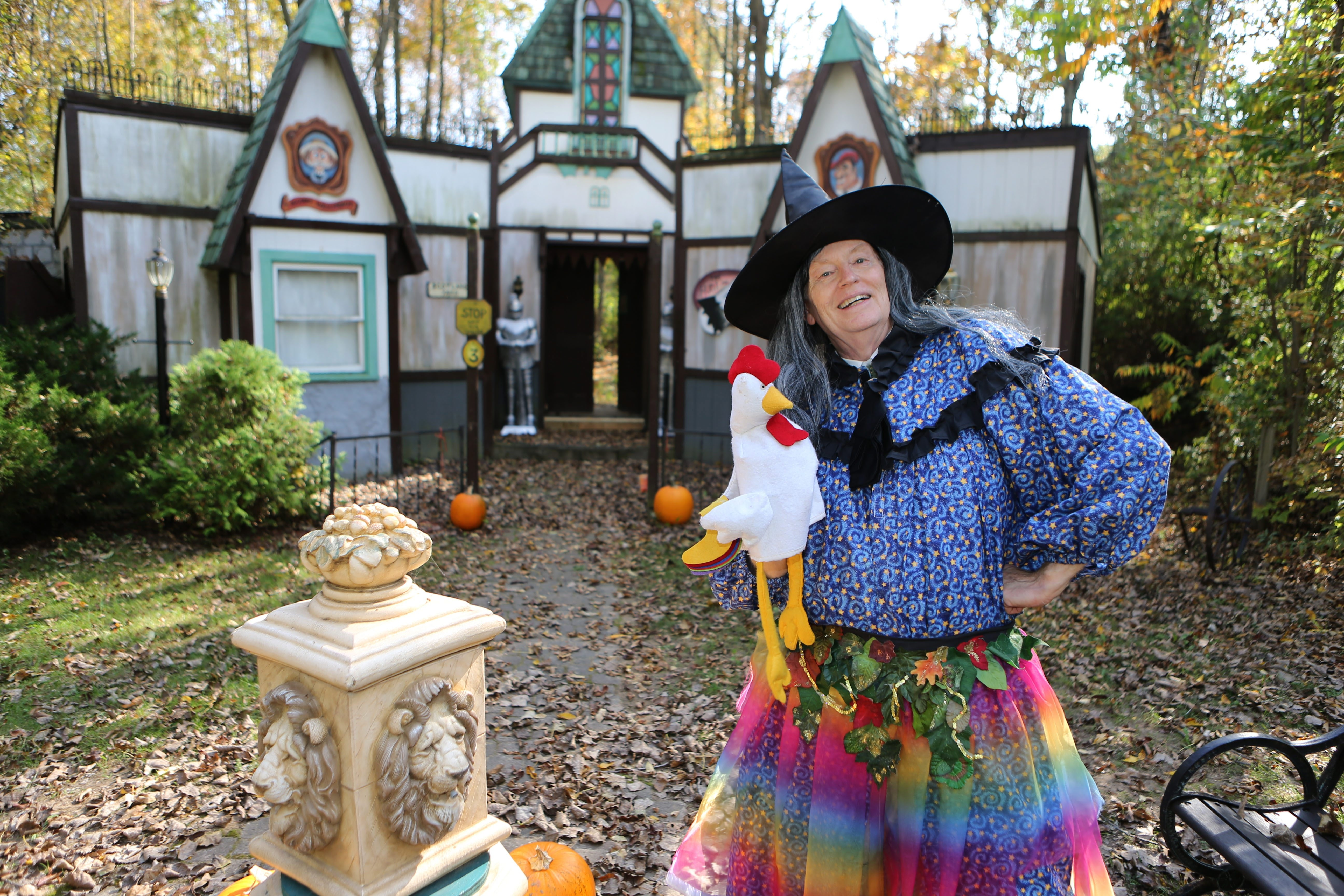 """""""Life is about having as many experiences as you can and not waiting.""""  — George W. Walker, dressed as the Wacky Witch at Holiday Hollow, a Halloween village in Pembroke"""