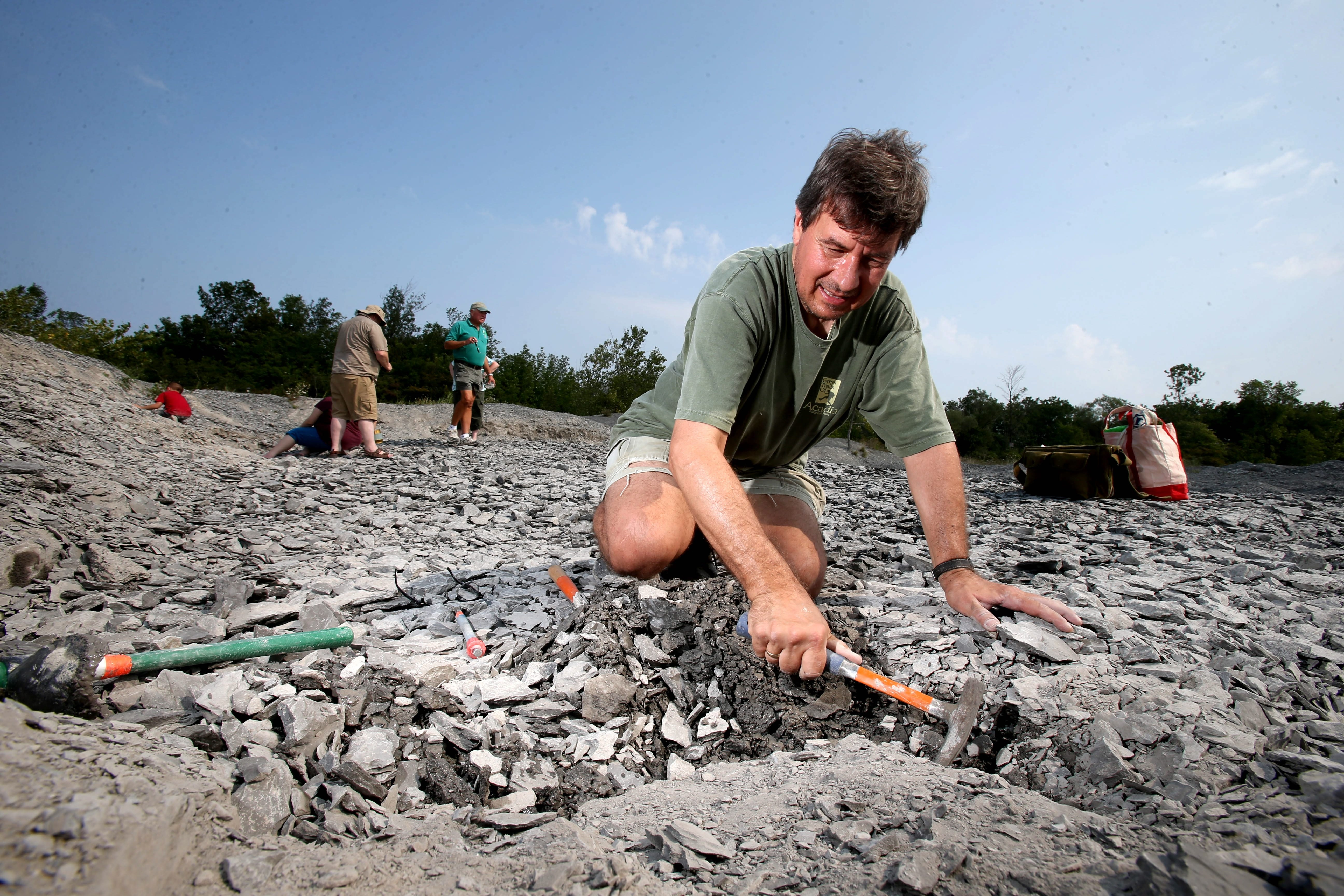 Like Adrian Derhak of West Hartford, Conn., many visitors to the Penn Dixie Paleontological and Outdoor Education Center travel to Hamburg from far away.