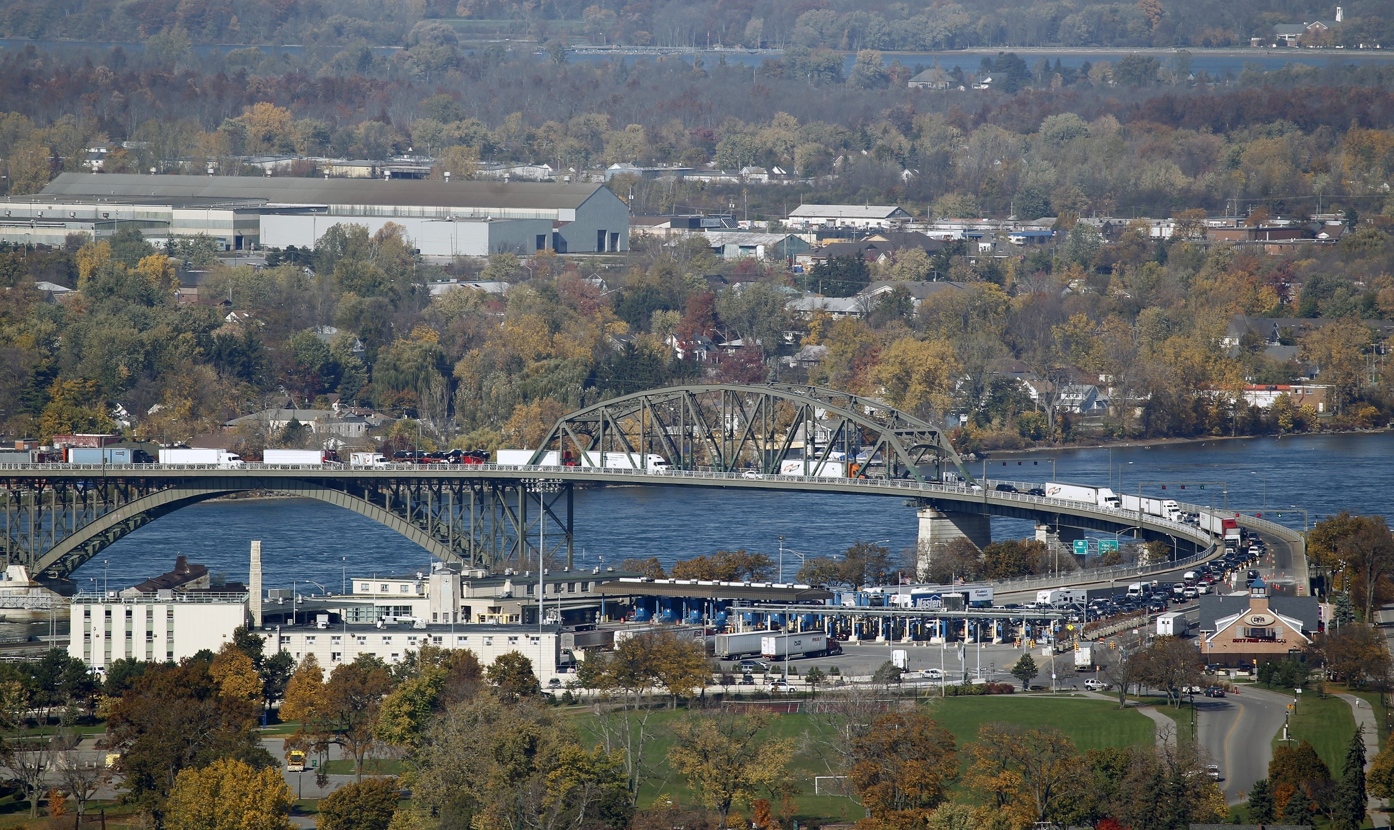 The Department of Environmental Conservation will test the air quality around the Peace Bridge again after plaza renovations are complete. {File photo by Harry Scull Jr. / Buffalo News}