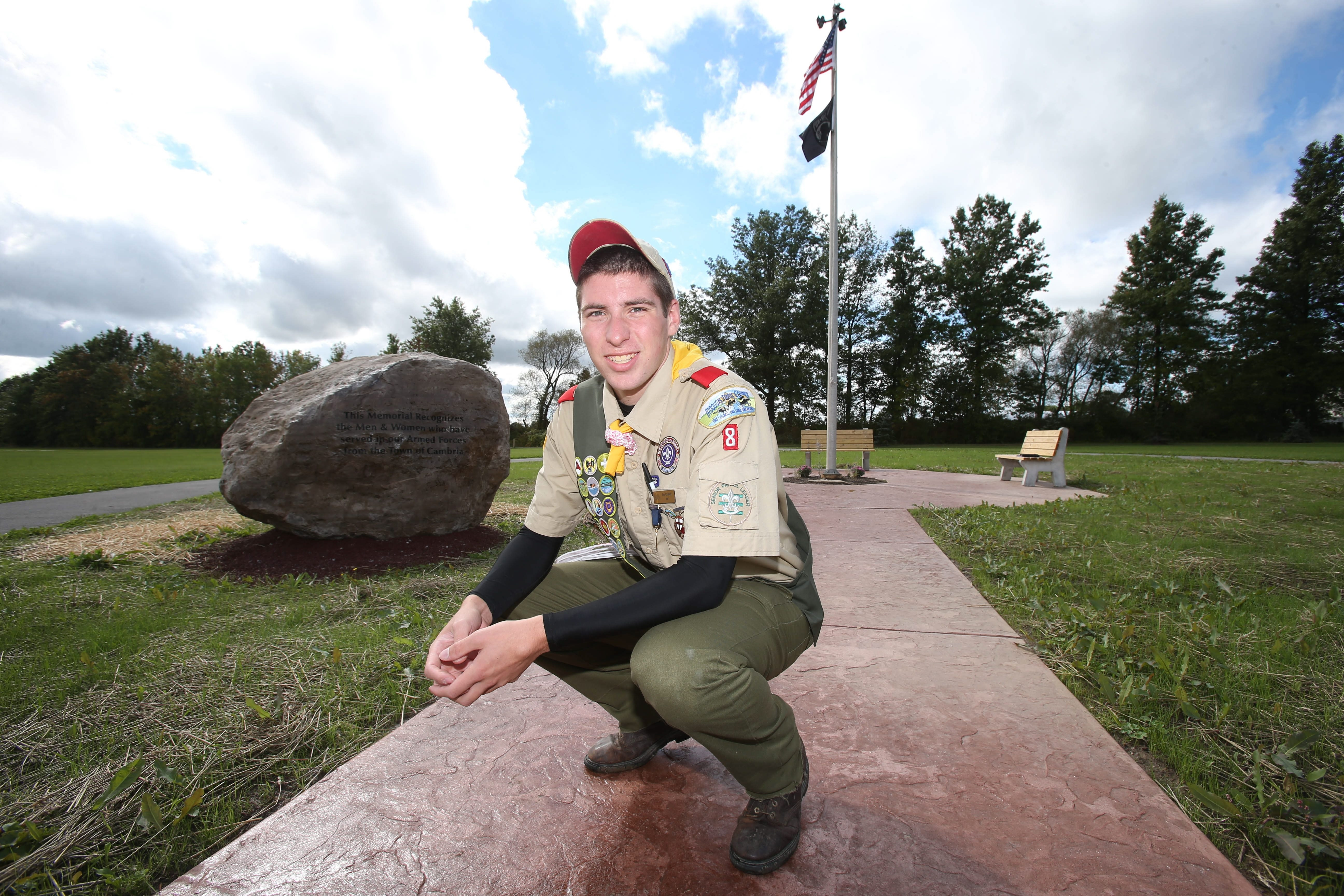 Ben Chatley, 17, coordinated the building of a memorial garden in Cambria Town Park as his Eagle Scout project.