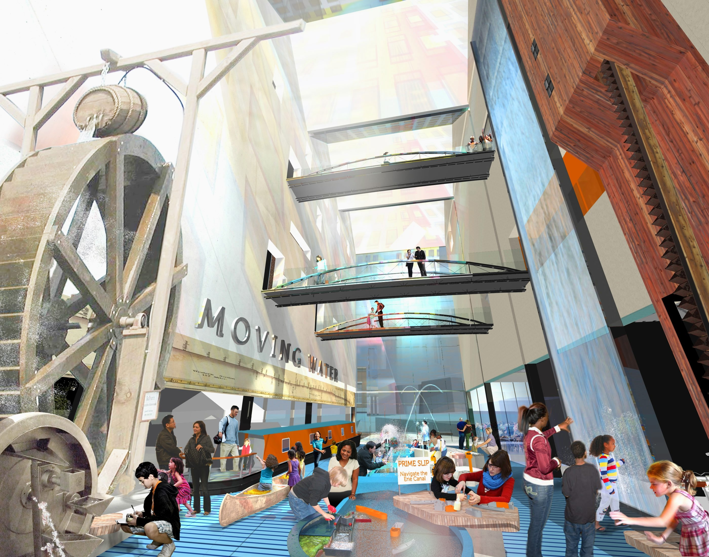 "A rendering shows ""Moving Water,"" one of the permanent exhibits envisoned at the Canalside Explore & More Children's Museum. The museum would have eight permanent exhibits."