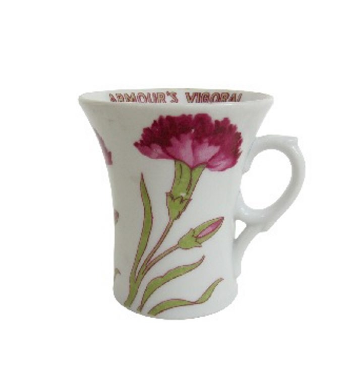 This porcelain cup, made in about 1915,  was an advertising premium for Armour bouillon. It sells for $20-$25.