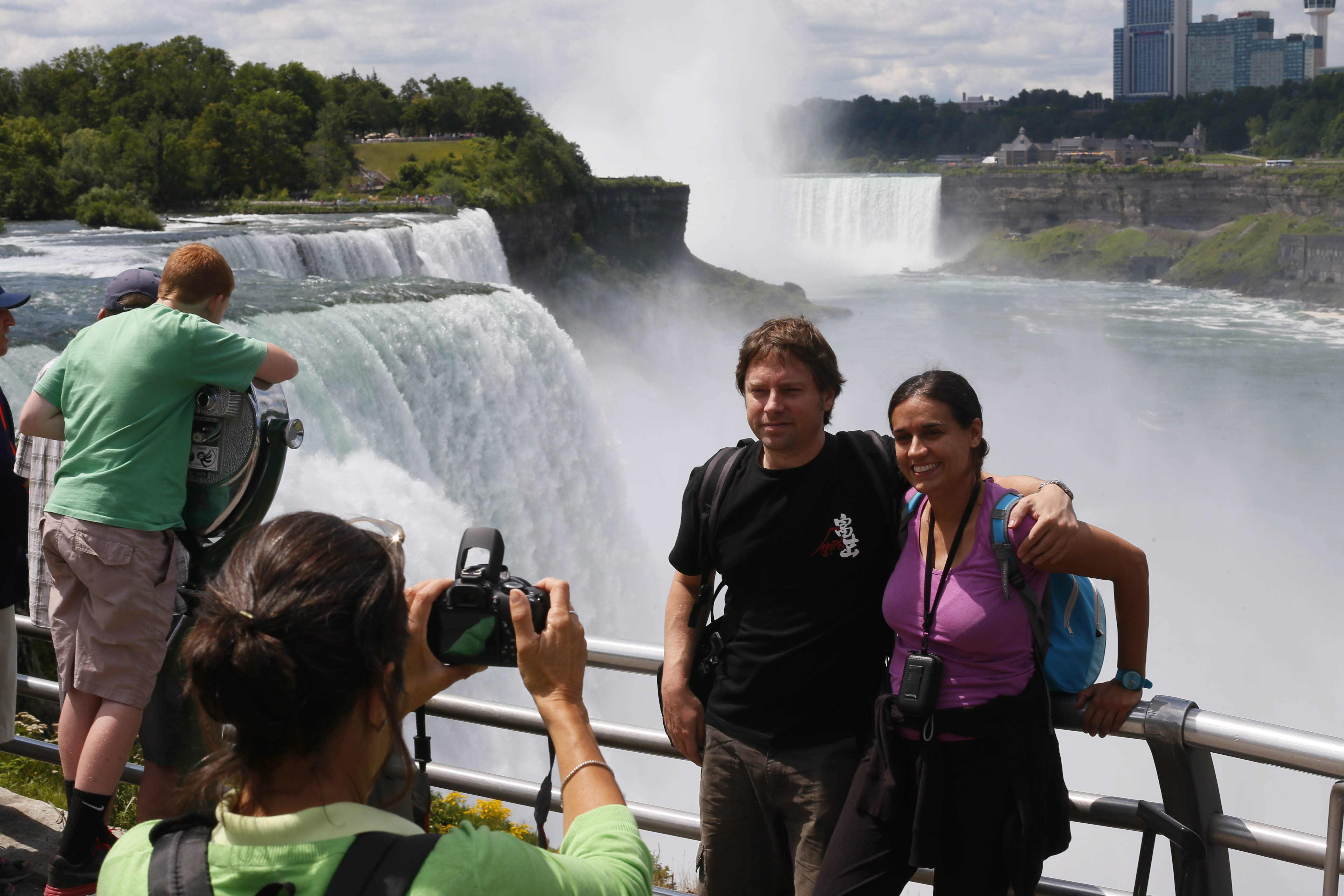 Jacobo Cagigal and Silvia Juez of Santander, Spain, pose for a photo at Prospect Point in Niagara Falls State Park in July. Niagara Falls needs more tourists like Cagigal and Juez; if the city can't succeed at tourism, its economy will never be more than anemic.
