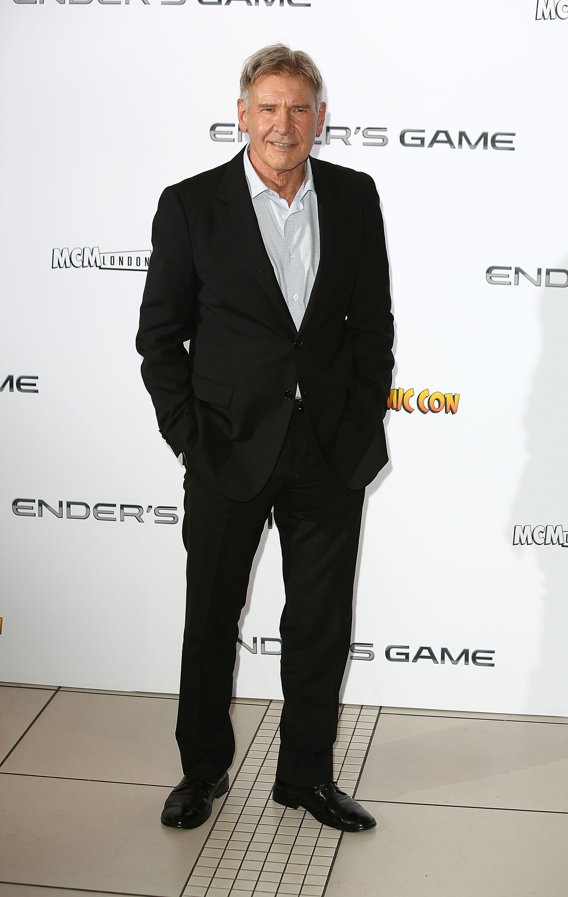 """'Game' for anything: Harrison Ford was in London Monday to attend a photocall to promote """"Ender's Game"""" at Odeon Leicester Square."""