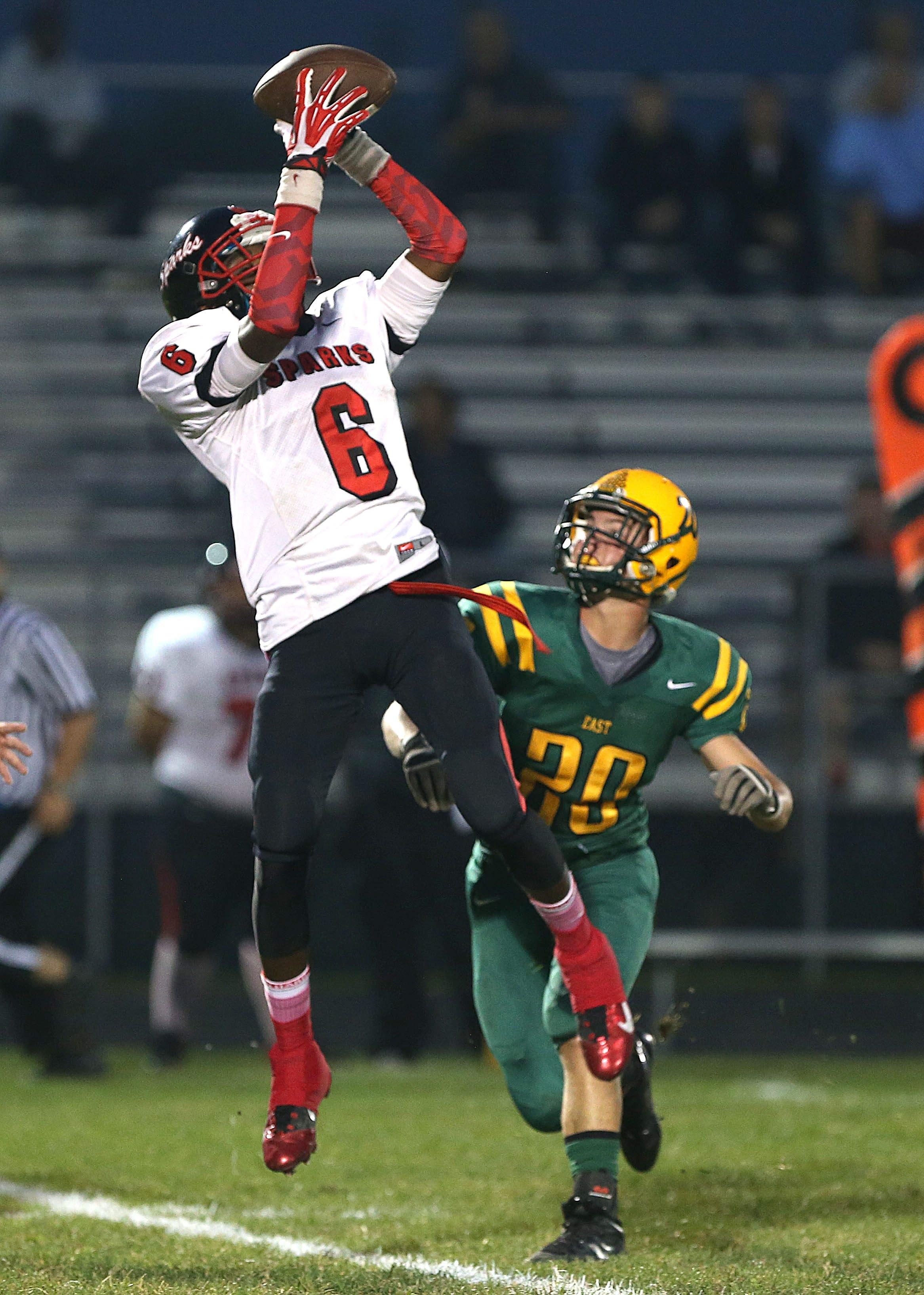 South Park's Antonio Leonard goes high to make a catch. More high school coverage on pages D6-7.