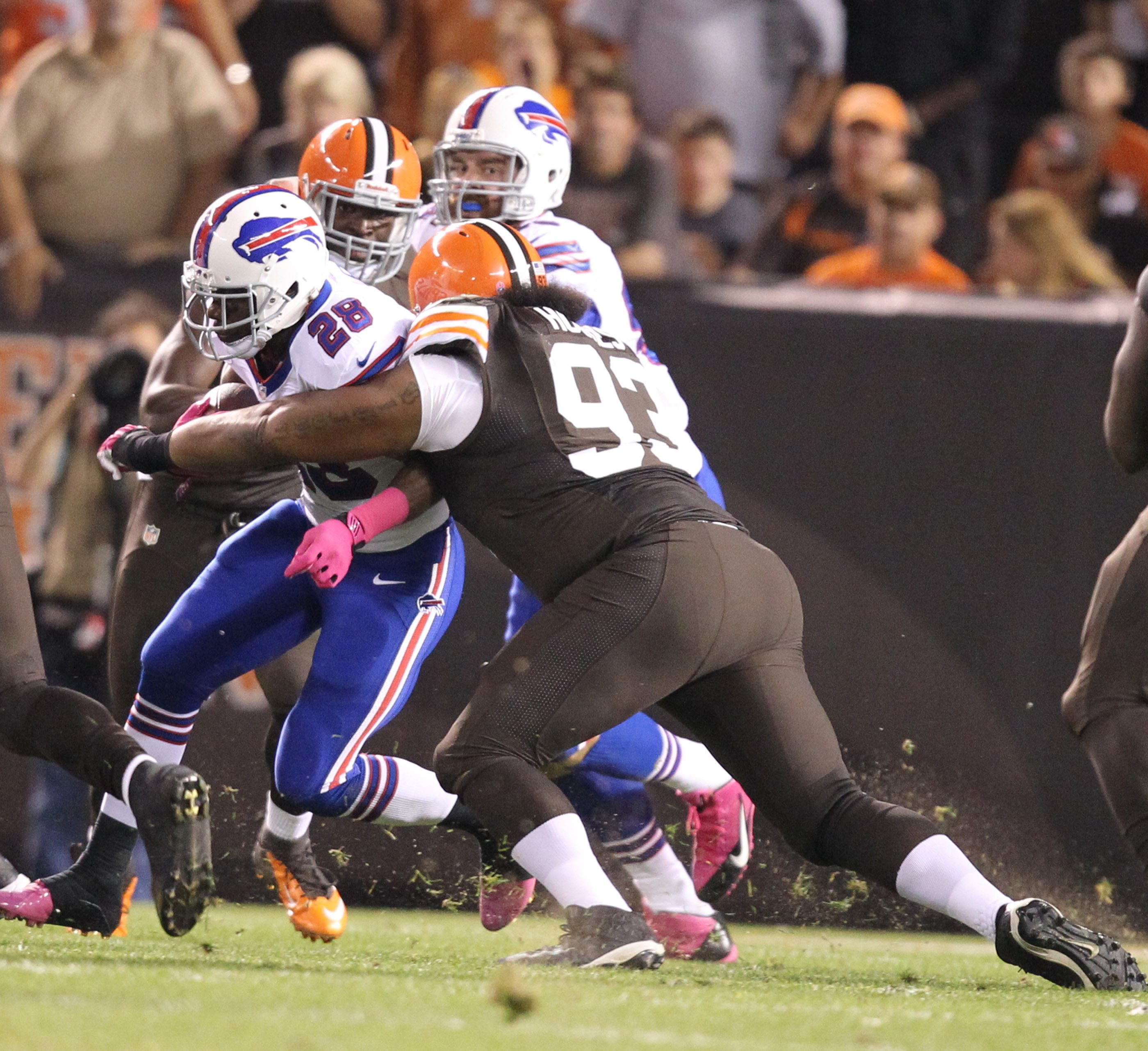 C.J. Spiller (28) and the other Bills running backs were terrific against the stout Browns defensive front.