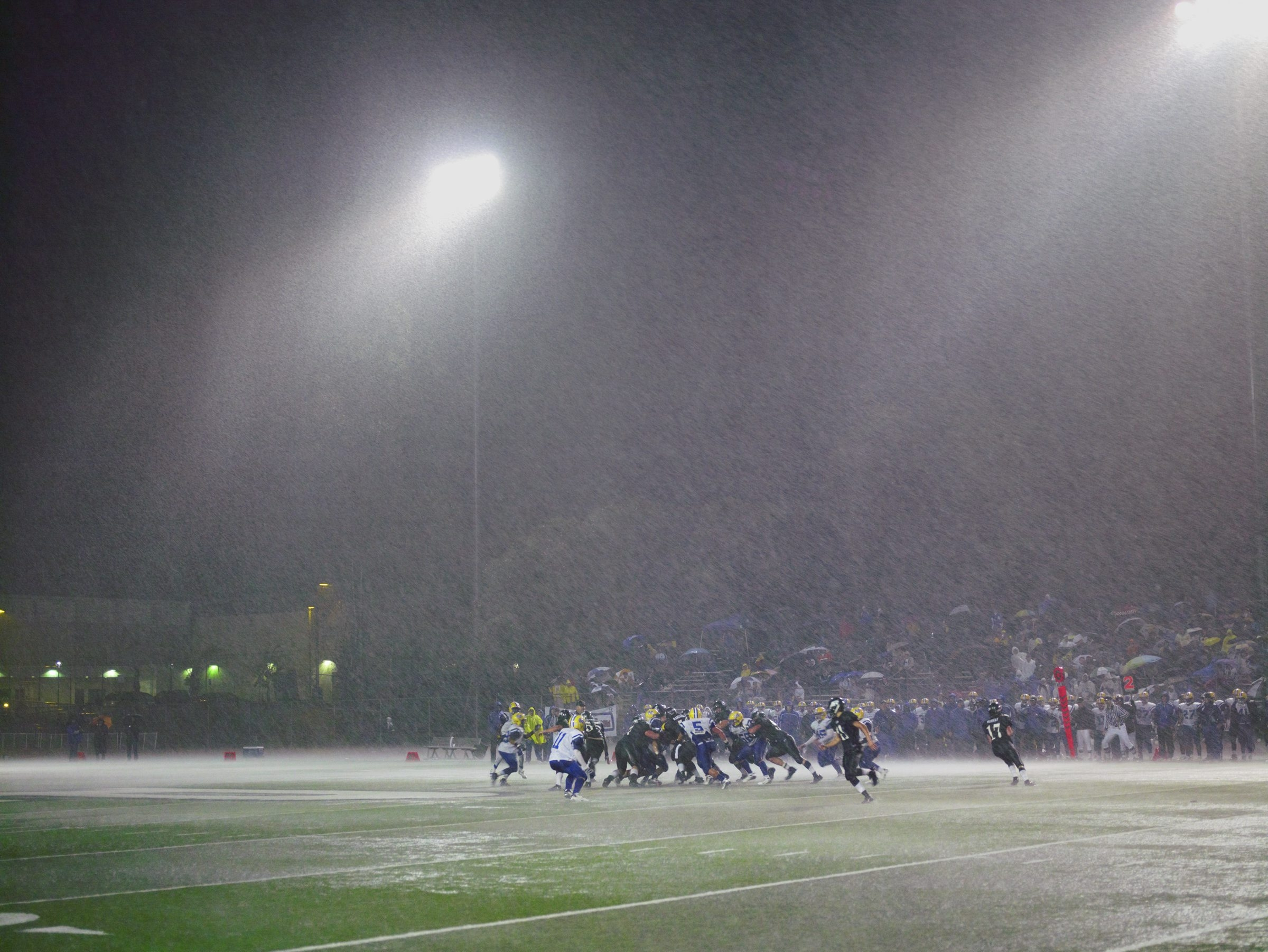 """Catherine Opie's 2007 phtograph """"Football Landscape #10 (Poway vs. Mira Mesa, Poway, CA)"""" is on view in CEPA Gallery as part of the exhibition """"Art of Sport."""""""