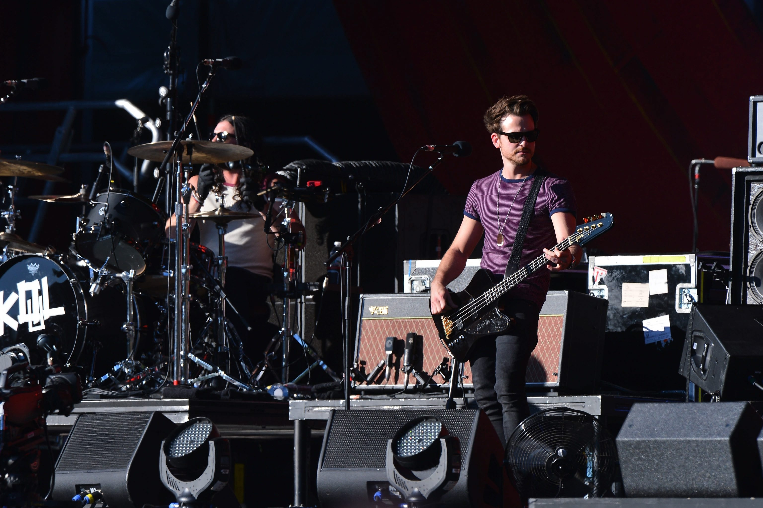 Drummer Nathan Followill, left, and bassist Jared Followill of Kings of Leon perform at the 2013 Global Citizen Festival in Central Park to end extreme poverty on September 28, 2013 in New York, United States.