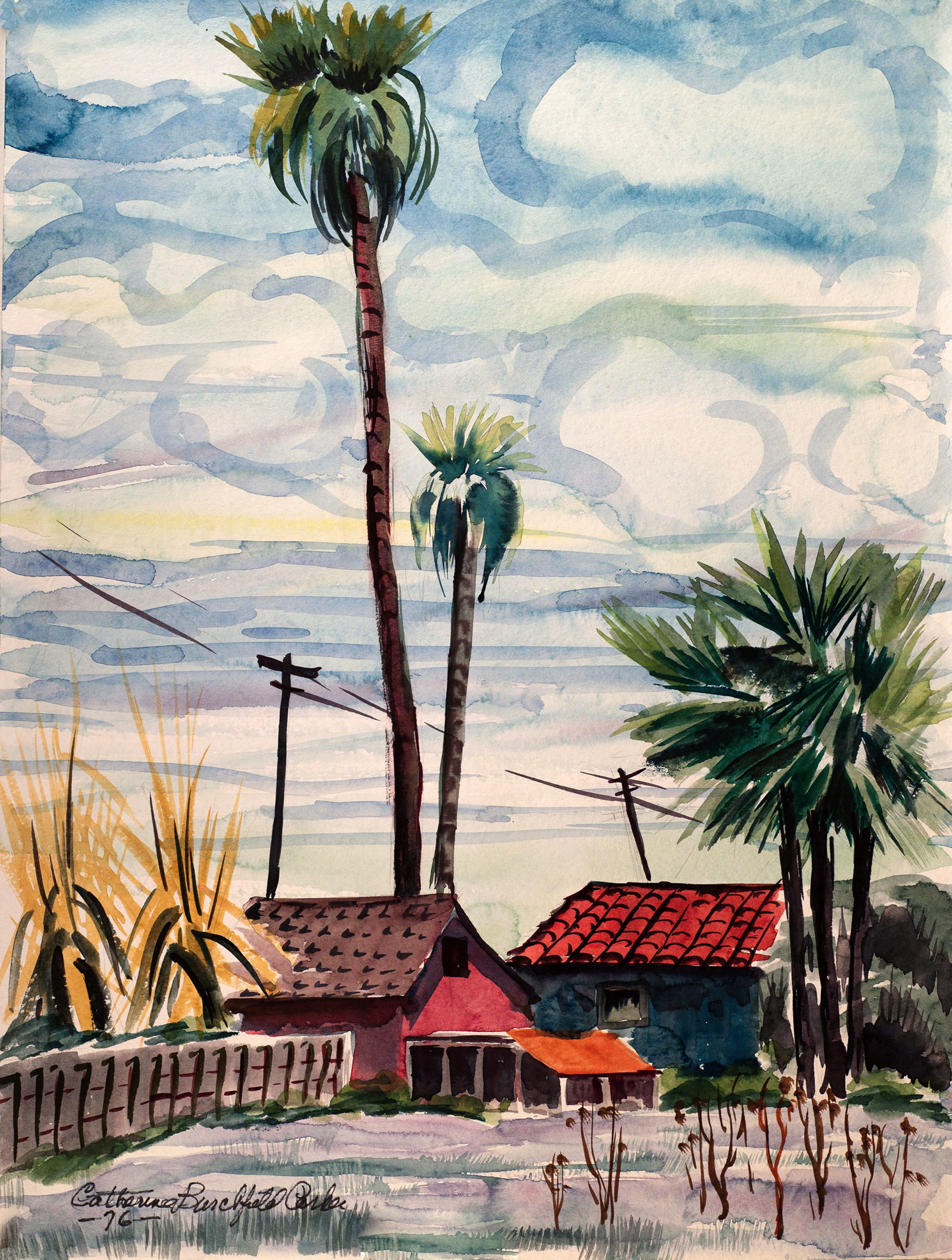 """Catherine Parker's 1976 painting """"Aptos"""" hangs in an exhibition of her work in Muleskinner Antiques through Oct. 26."""