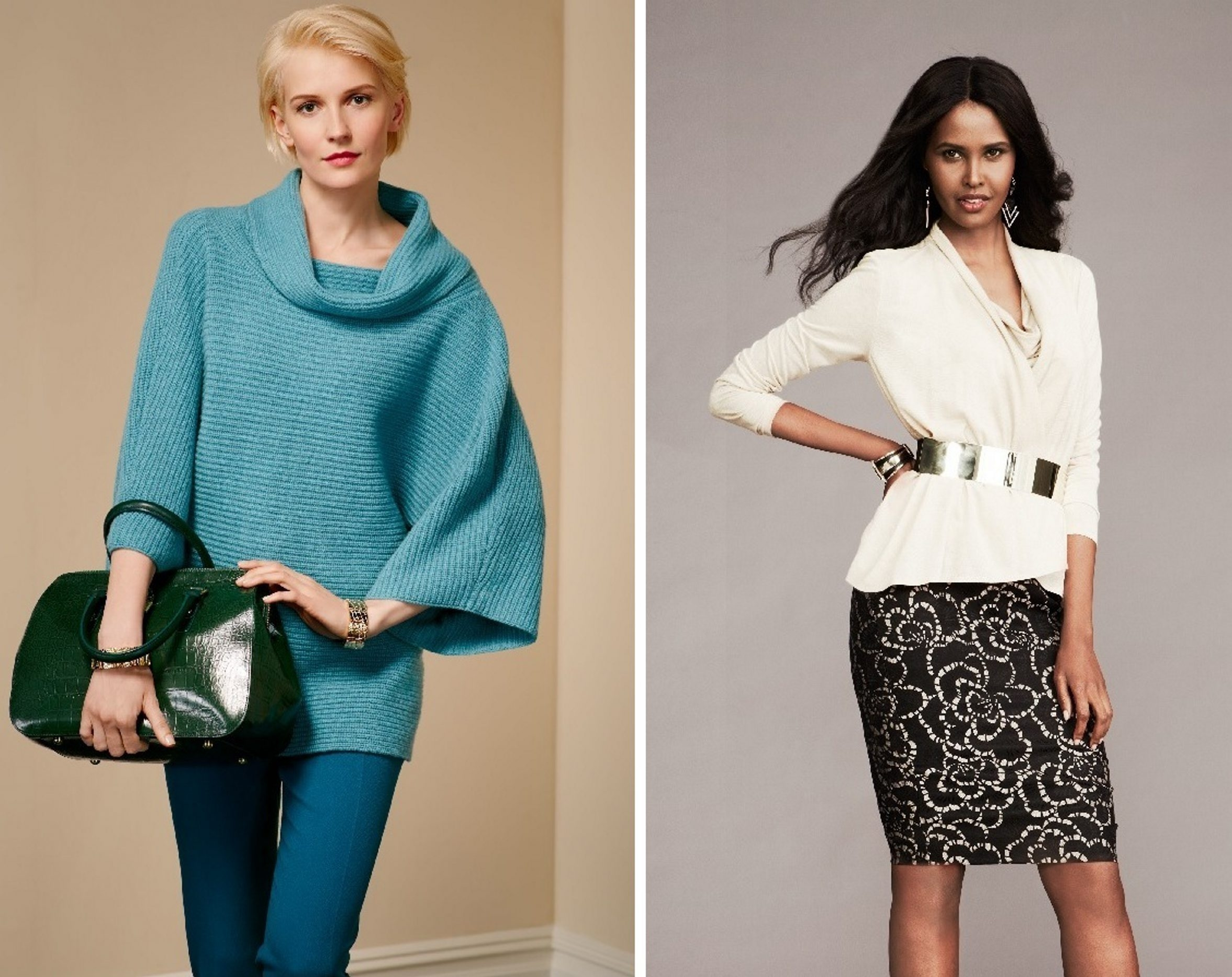 Styles for fall include the cowl neck from Talbots and a sweater jacket from Macy's.