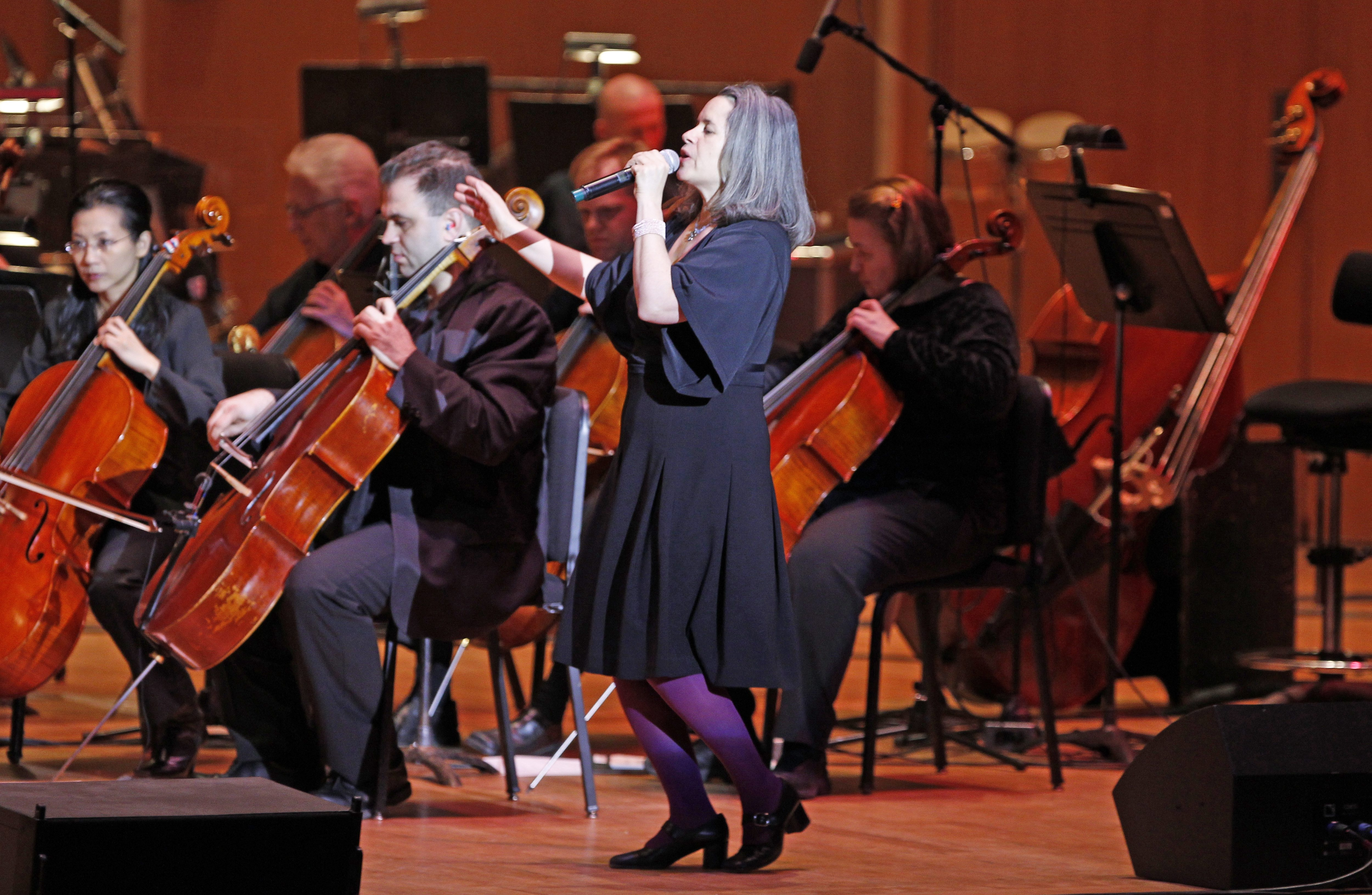 Former 10,000 Maniacs vocalist Natalie Merchant, shown performing with the Buffalo Philharmonic Orchestra in February, is among the 2013 inductees in the Buffalo Music Hall of Fame. (Harry Scull Jr. / Buffalo News file photo)
