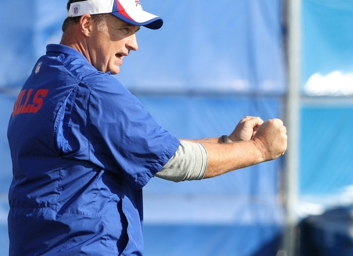Bills coach Doug Marrone miscalculated by relying on Jeff Tuel as the backup to EJ Manuel, but Marrone is acting to fix his mistake. (James P. McCoy/Buffalo News)