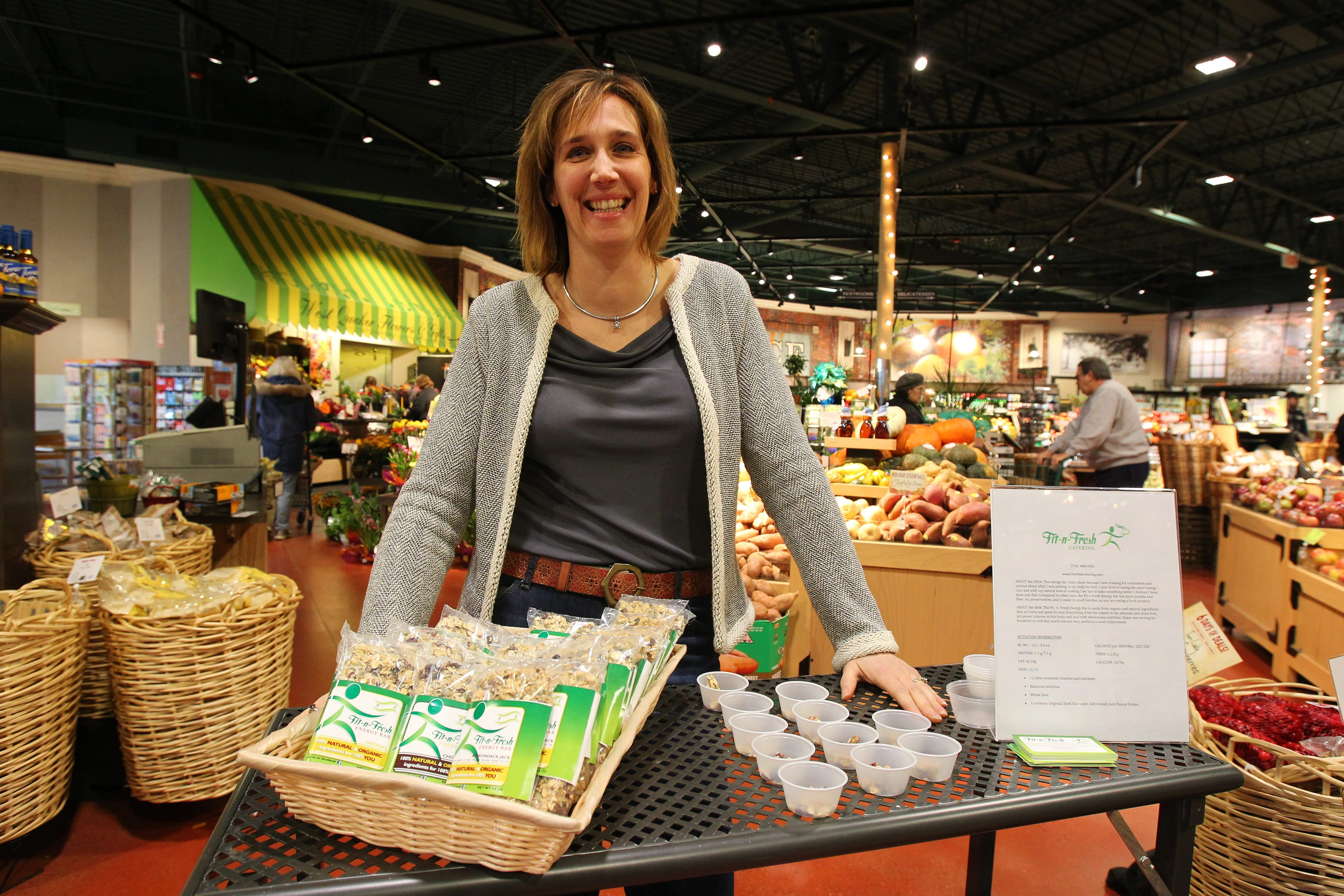 Fit-n-Fresh owner Melissa Rakvica's energy bars are sold at Orchard Fresh in Orchard Park.