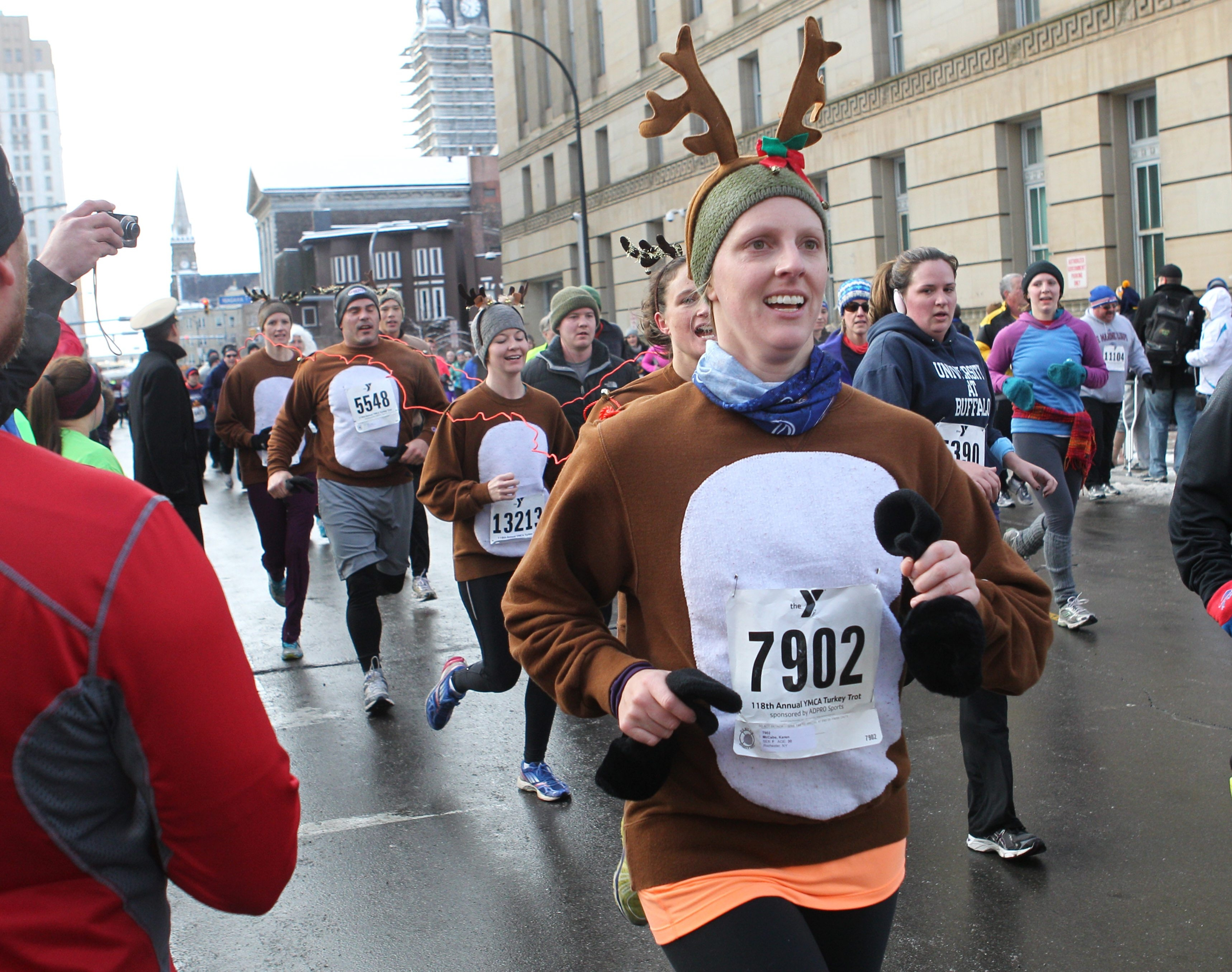 Plenty of runners in costume added to the party atmosphere for the 118th annual Turkey Trot.