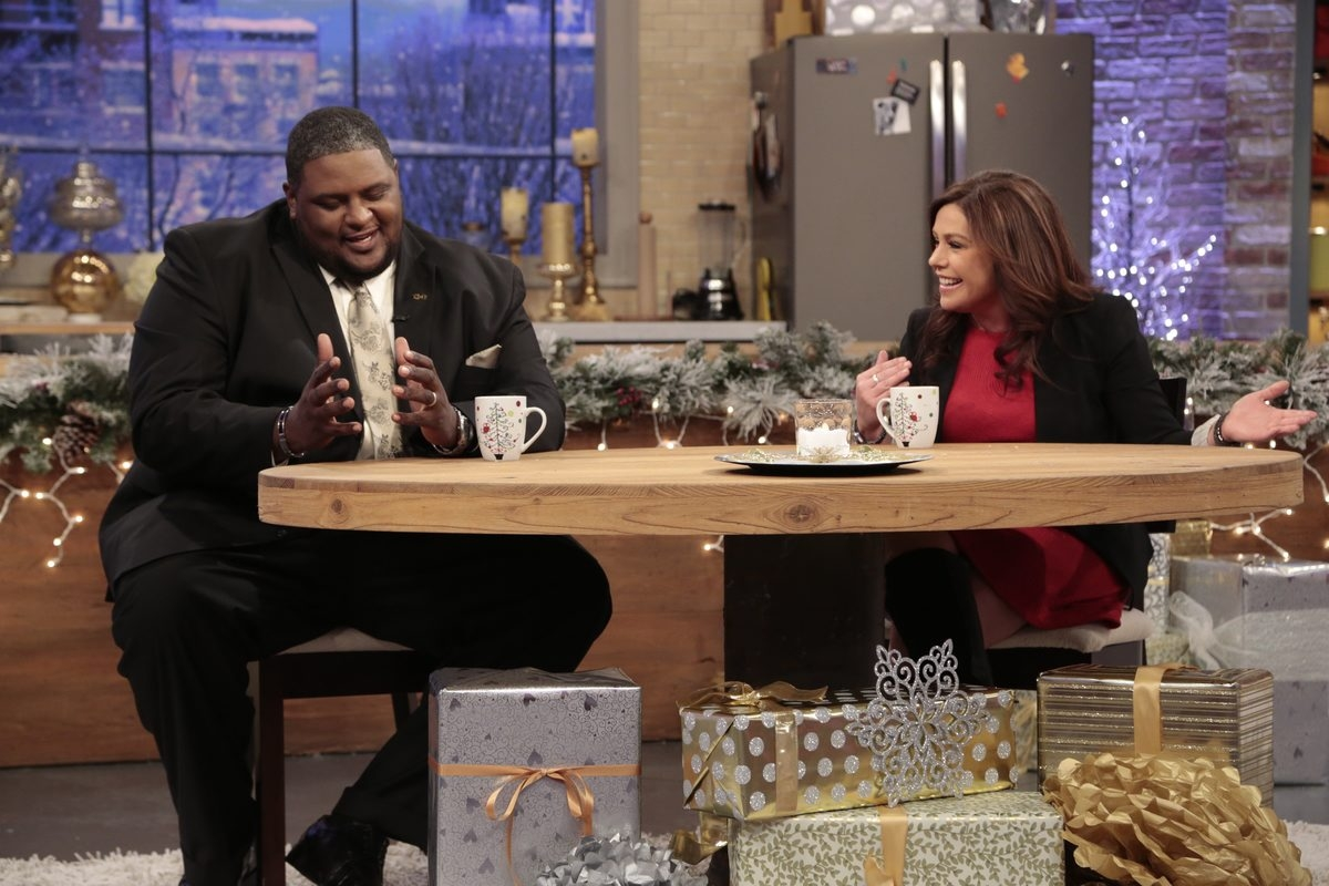"""Rachael Ray talks to Darnell Barton during the production of """"The Rachael Ray Show"""" on Wednesday. The show is set to air Monday."""