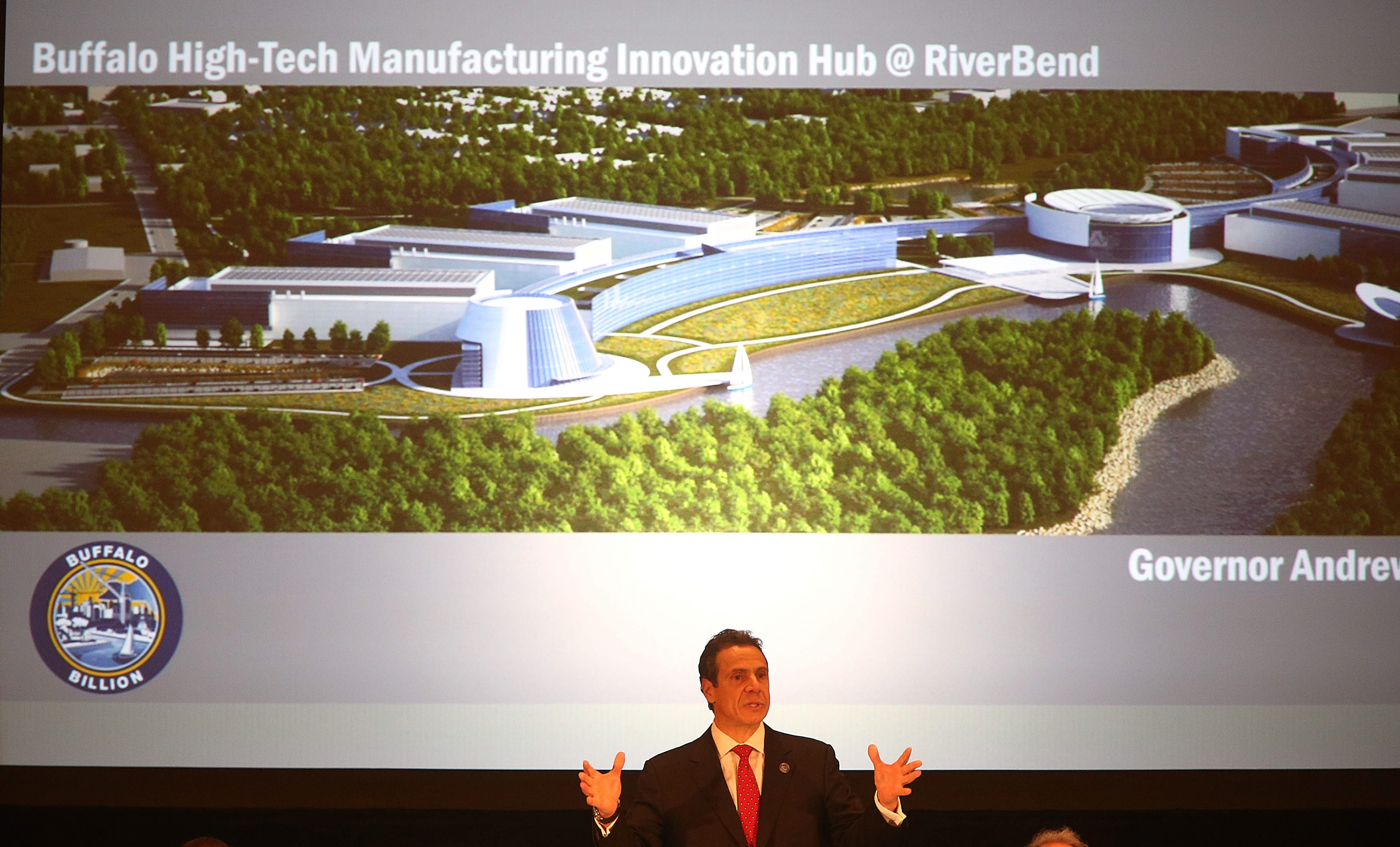 Gov. Andrew Cuomo announces the Riverbend project, which will bring hundreds of jobs to Buffalo. (Buffalo News photo)