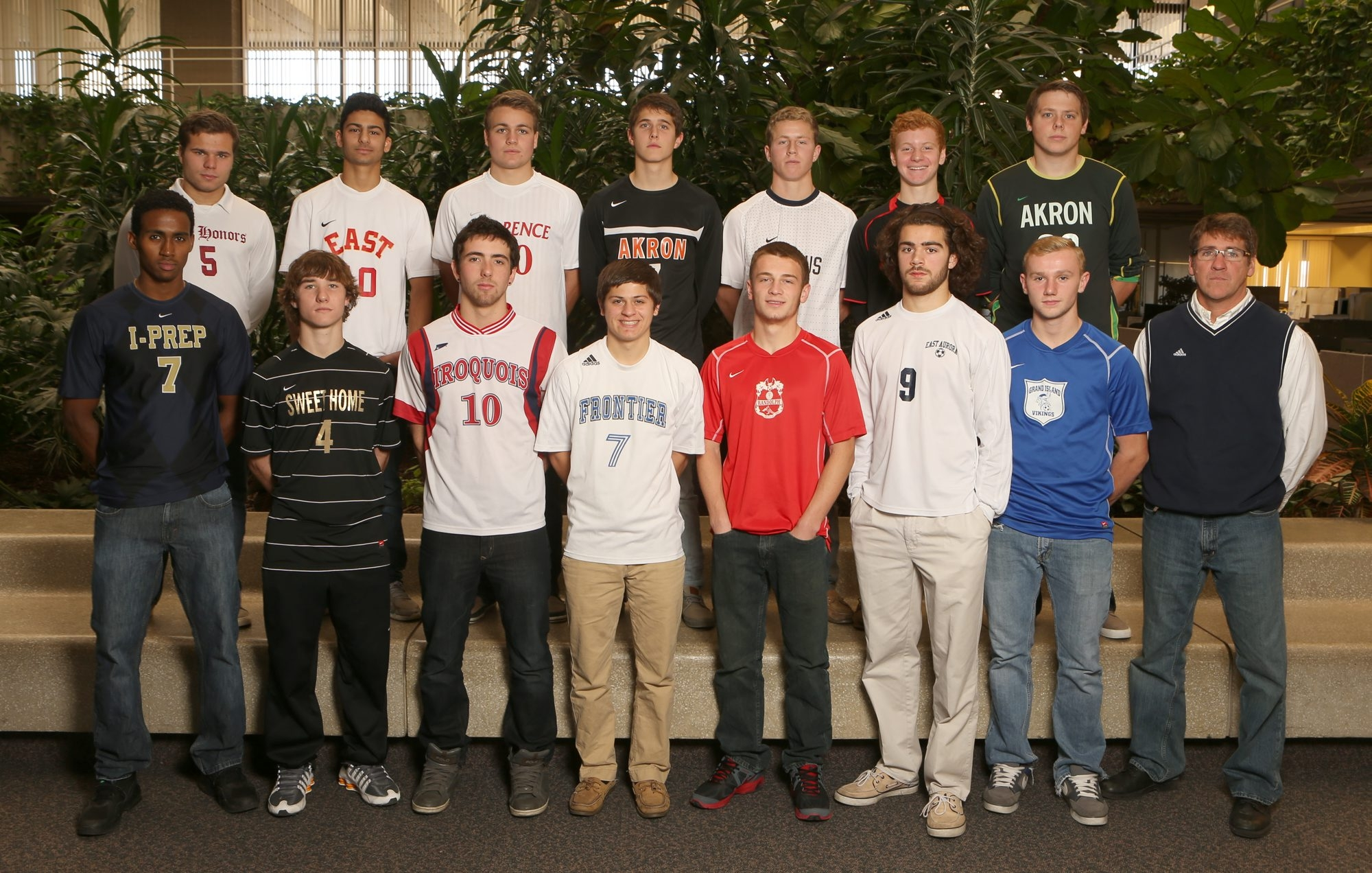 Members of the All-WNY Boys Soccer Team are, front row from left: Ezana Kahsay, I-Prep; Bryan Daigler, Sweet Home; Drew Braun, Iroquois; Brandon Galanti, Frontier; Mathew Born, Randolph; Kyle Kleckner, East Aurora; Ryan Ross, Grand Island, and Coach of the Year Kevin Beale, East Aurora. Back row, from left: Matt Sutter, City Honors; Vickram Goel, Williamsville East; Patrick Schulz, Clarence; Chris Mayrose, Akron; Jake Montante, Canisius; Sam Wasson, Clarence; and Austin Medole, Akron.