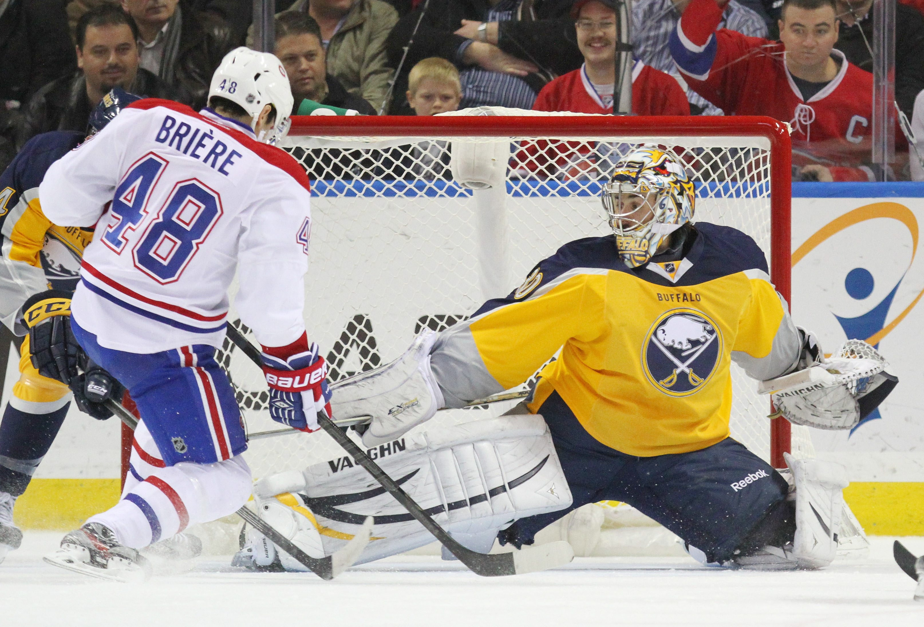 Sabres goalie Ryan Miller makes a save on a shot by Montreal's Daniel Briere during Wednesday night's 3-1 Buffalo loss.
