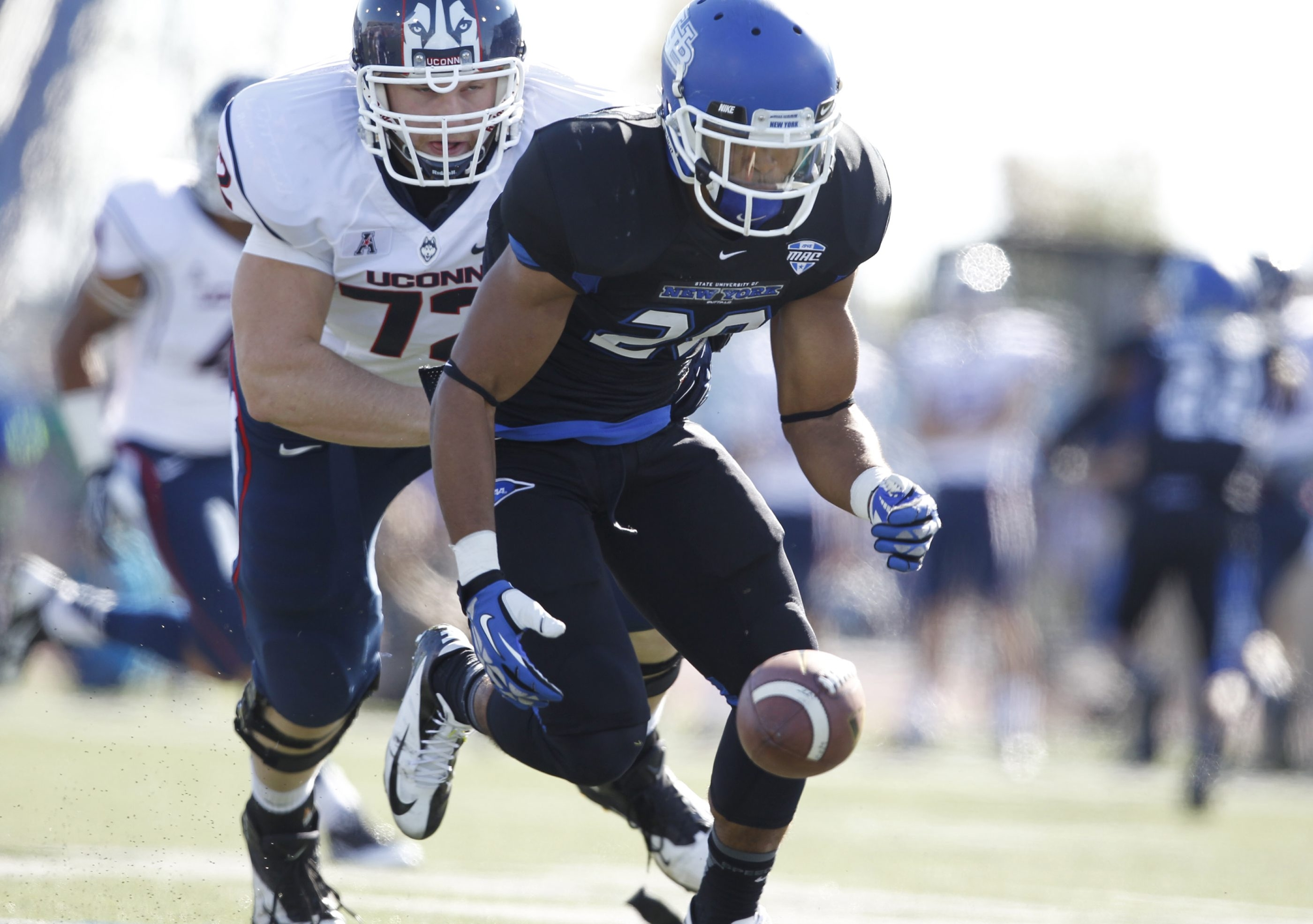 Adam Redden, shown recovering a fumble, can't wait to return to action when his UB Bulls host Bowling Green on Friday.
