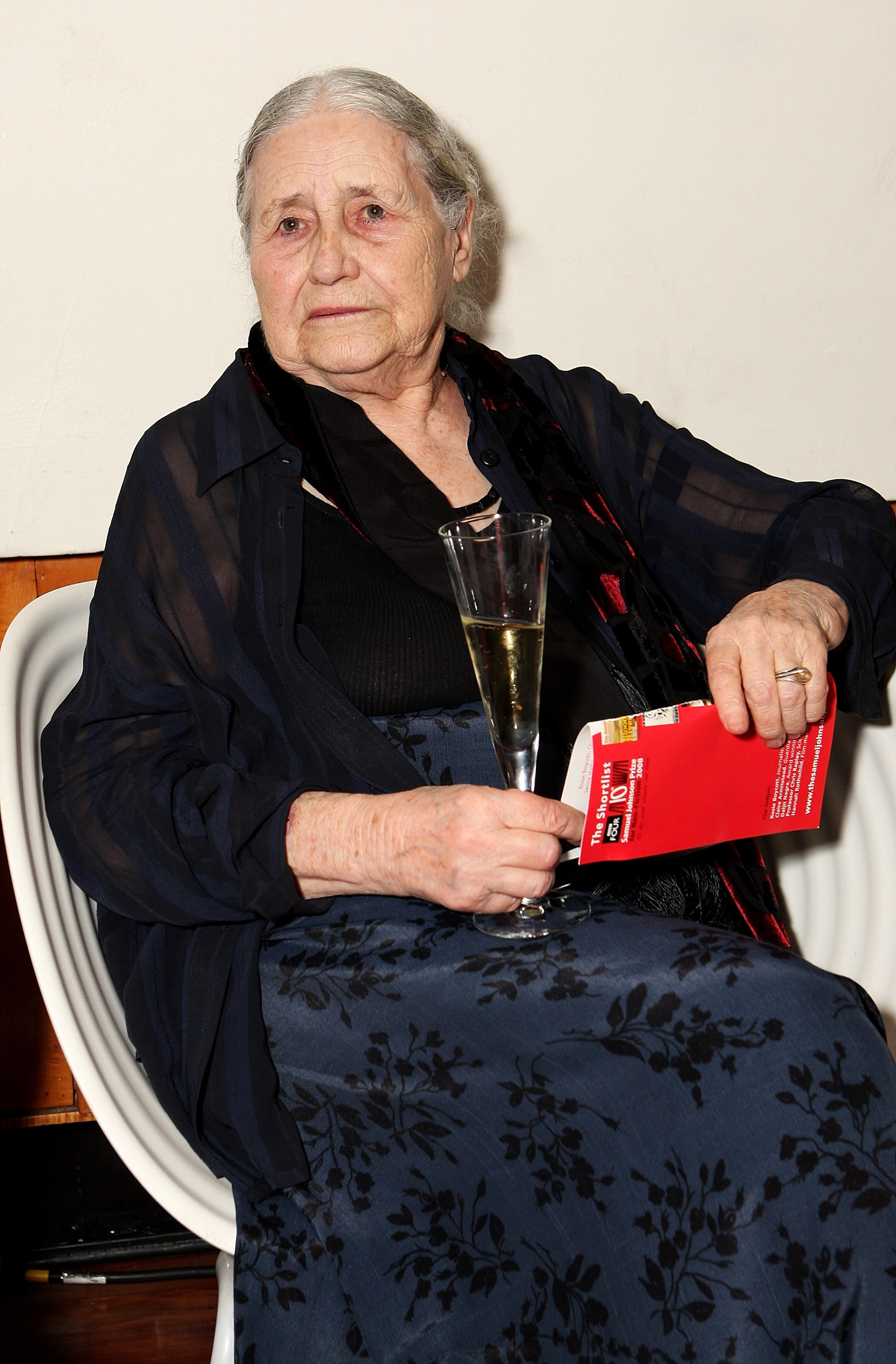 FILE – NOVEMBER 17, 2013: It was reported that author Doris Lessing winner of the Nobel Prize in Literature died at 94 November 17, 2013. LONDON – JULY 15:  Author Doris Lessing attends the BBC Four Samuel Johnson Prize For Non-Fiction award ceremony at the Southbank Centre on July 15, 2008 in London, England.  (Photo by Rosie Greenway/Getty Images)