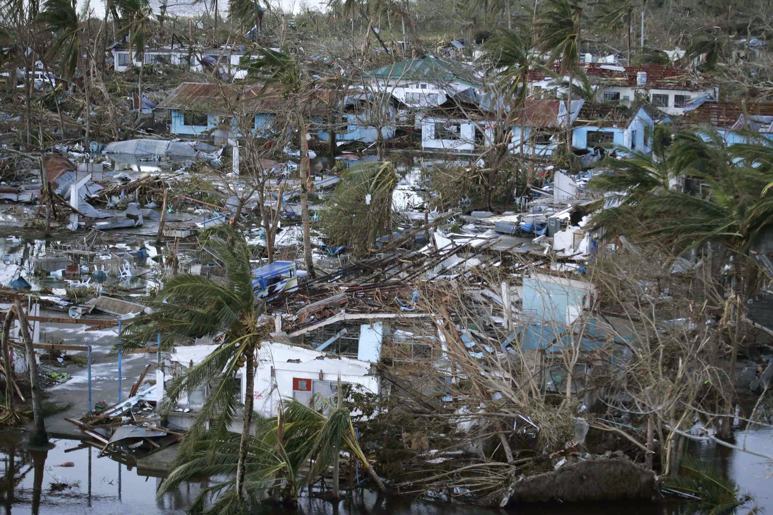 The city of Tacloban, in Leyte province in central Philippines, was practically flattened when Typhoon Haiyan roared through Friday. Officials say thousands may have died.