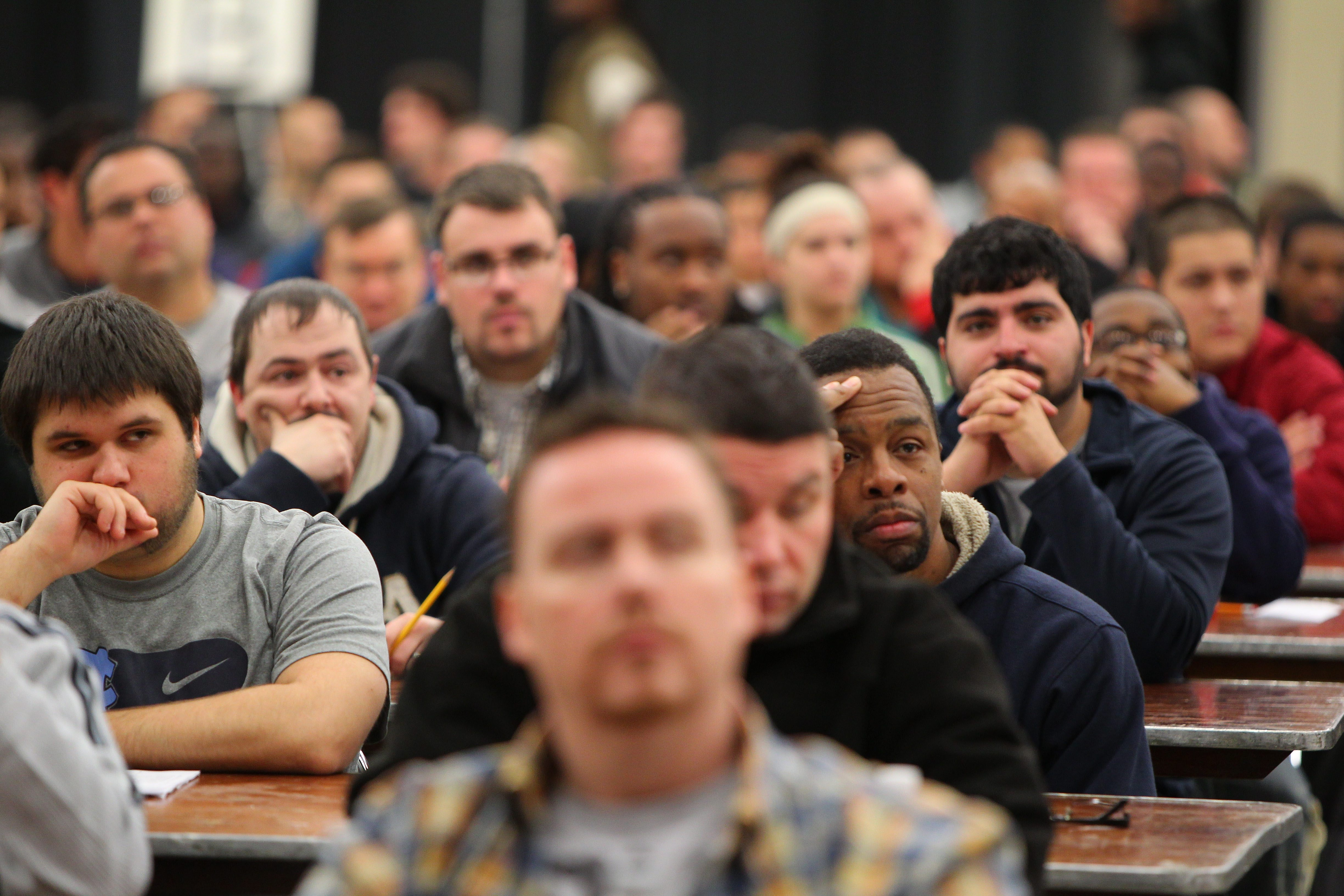 Prospective Buffalo firefighters prepare to take a civil service exam Tuesday in the Buffalo Niagara Convention Center. There currently are about 75 open positions in the department.