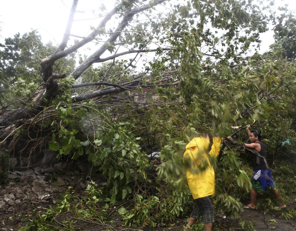 Residents clear a road after trees were toppled by strong winds at the onslaught of powerful typhoon Haiyan that hit the island province of Cebu, Philippines, Friday.