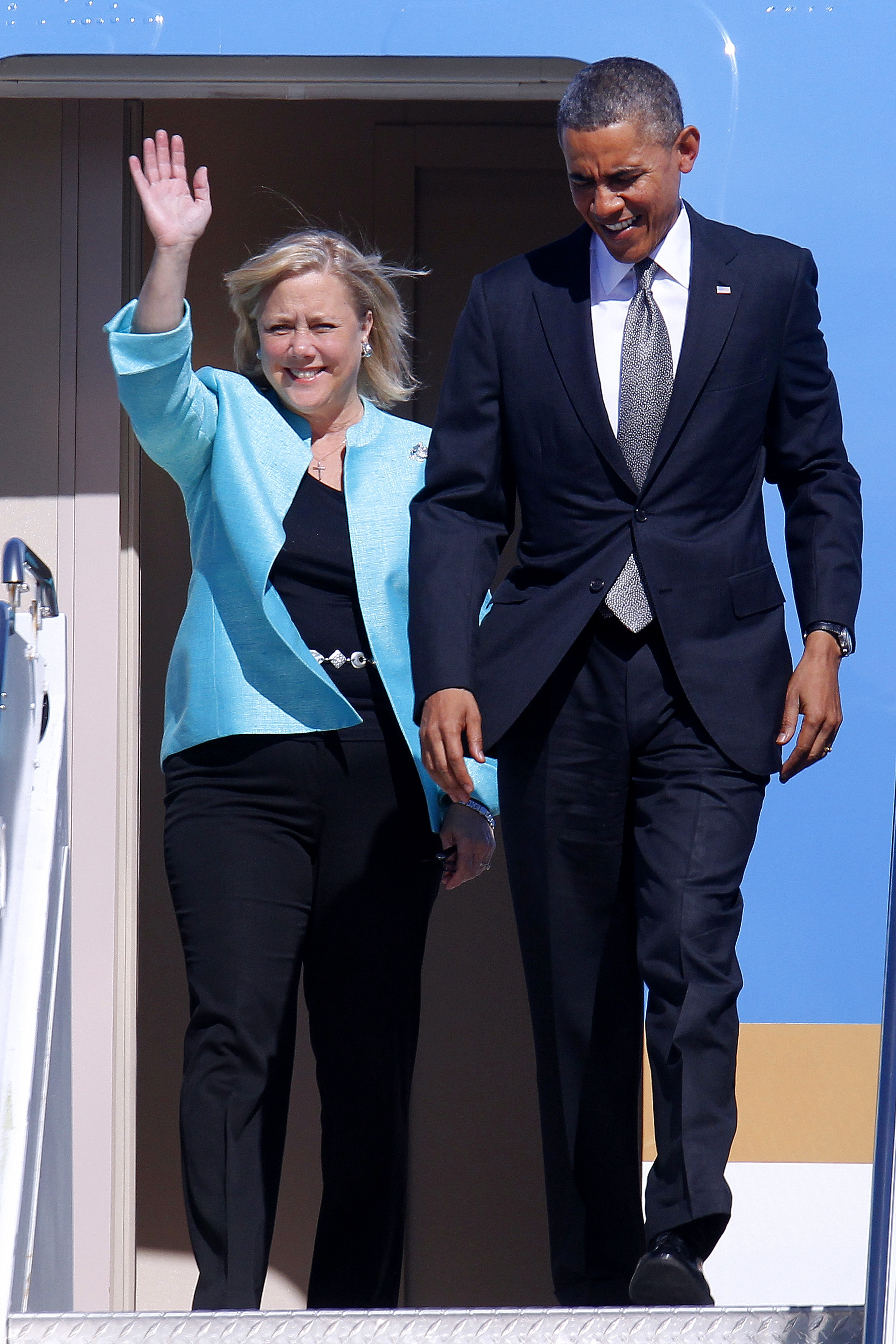 Sen. Mary Landrieu, D-La., shown here deplaning with President Obama in New Orleans on Friday, has introduced a keep-your-insurance plan to Congress.